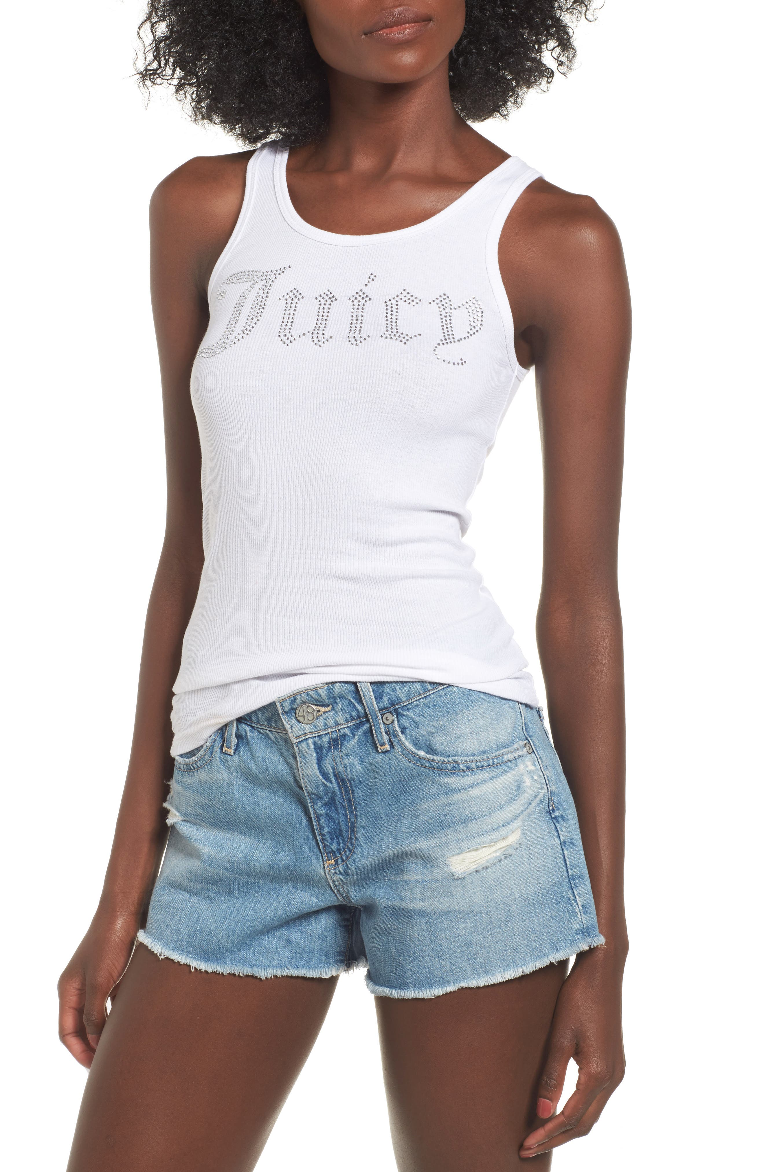 Juicy Gothic Embellished Tank,                         Main,                         color, White