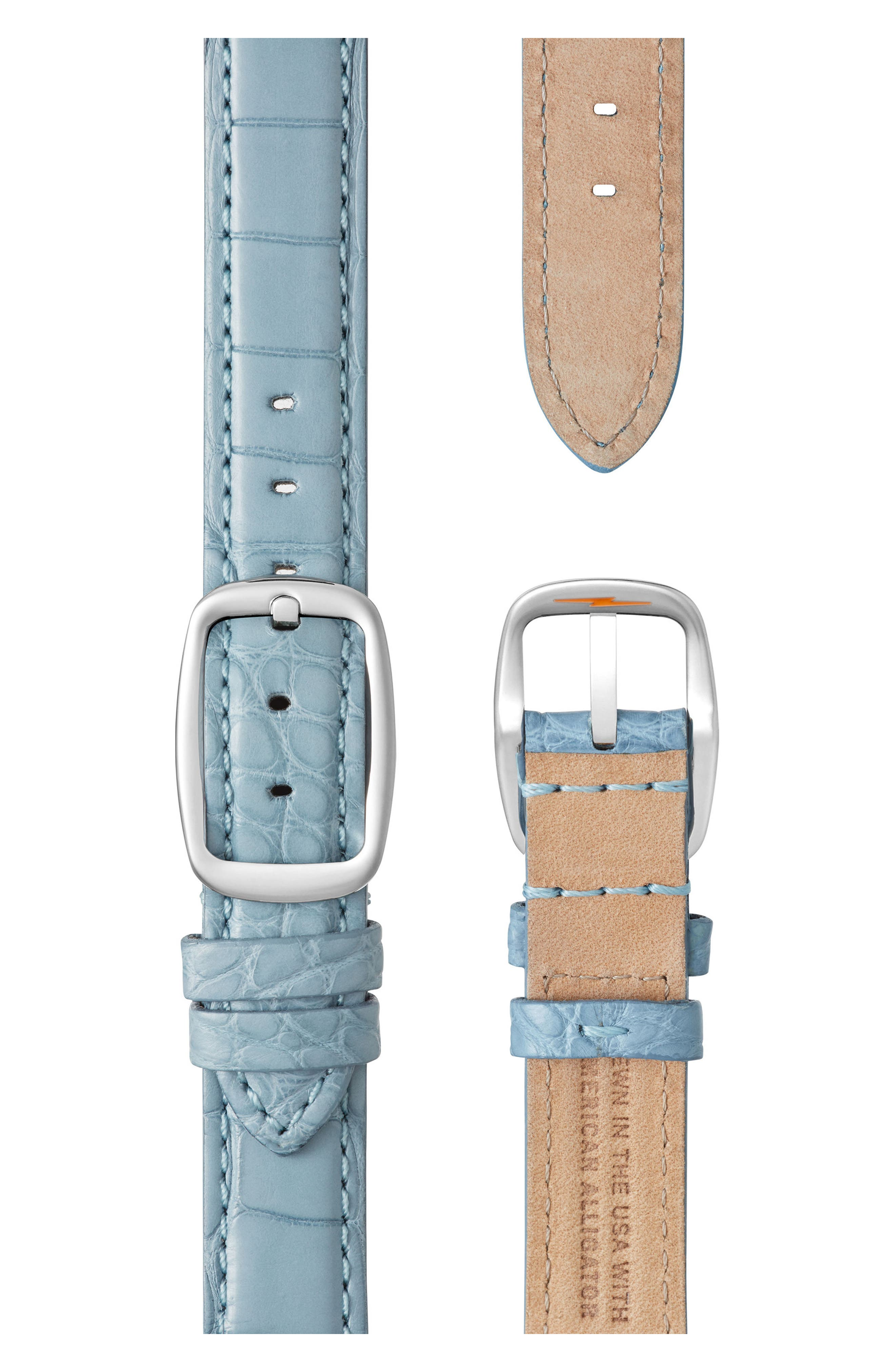 The Canfield Alligator Strap Watch, 38mm,                             Alternate thumbnail 3, color,                             Slate Blue/ Silver
