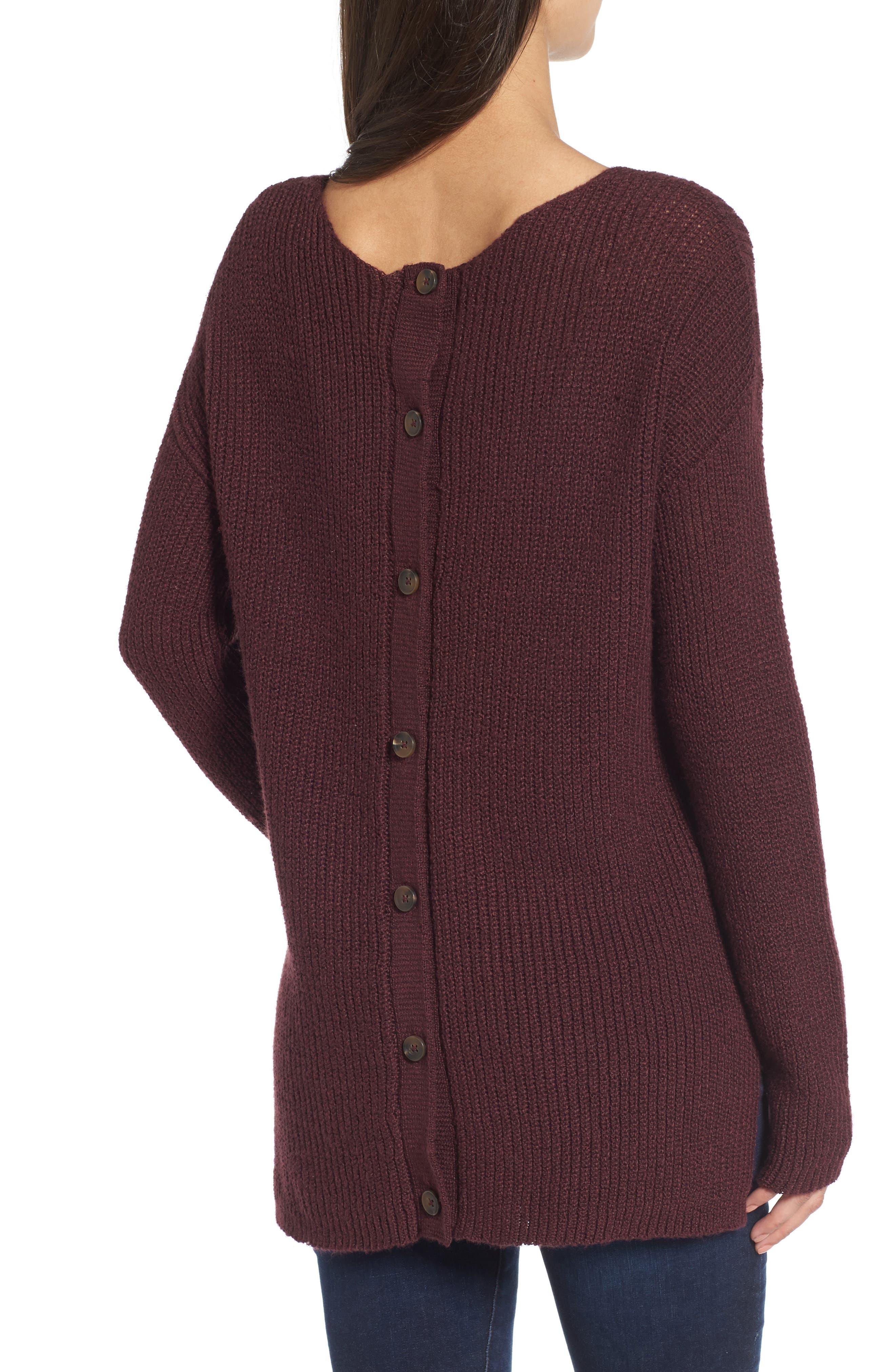 Alternate Image 2  - Hinge Button Back V-Neck Sweater