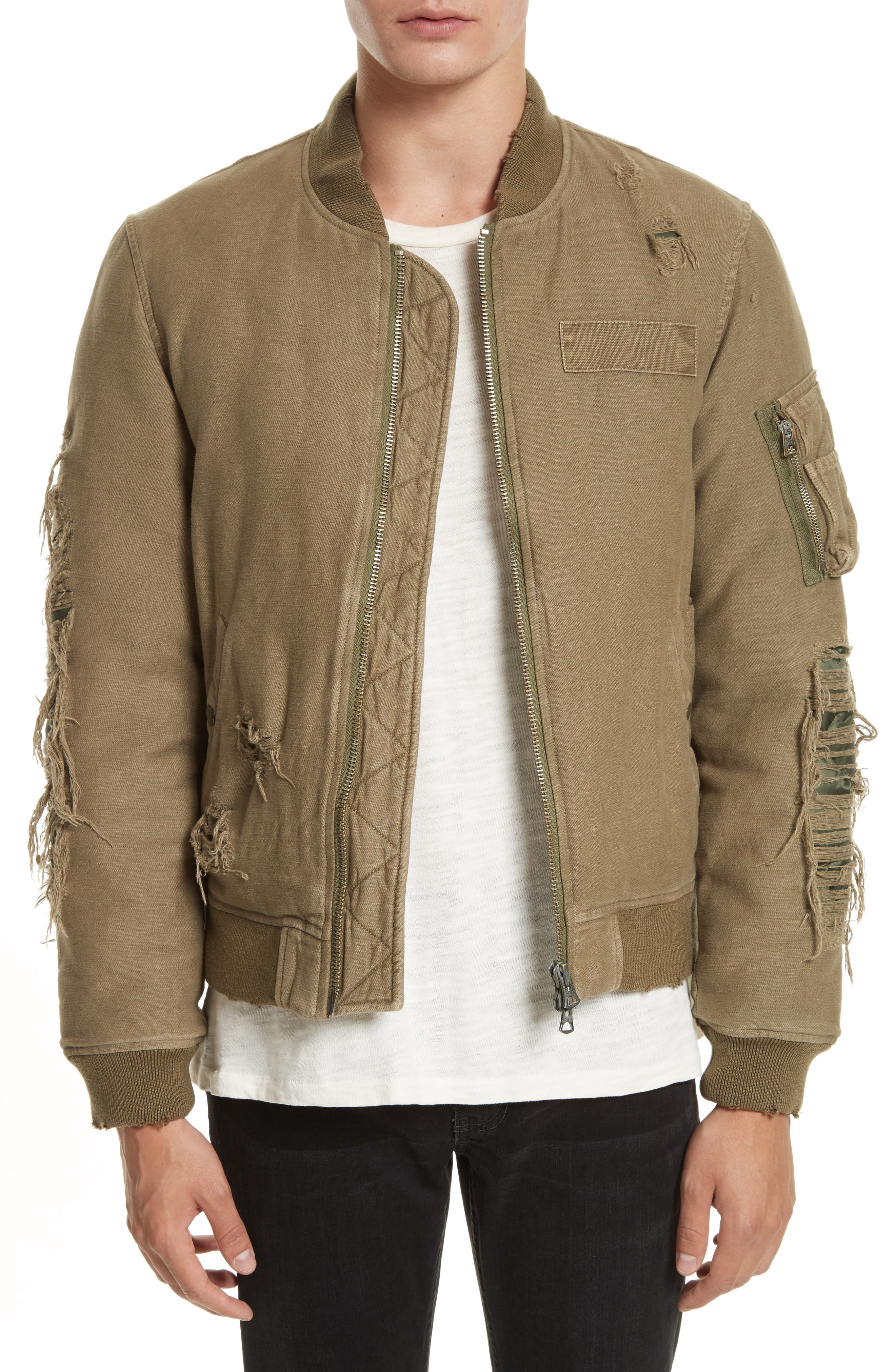 Ripped Canvas Bomber,                         Main,                         color, Olive