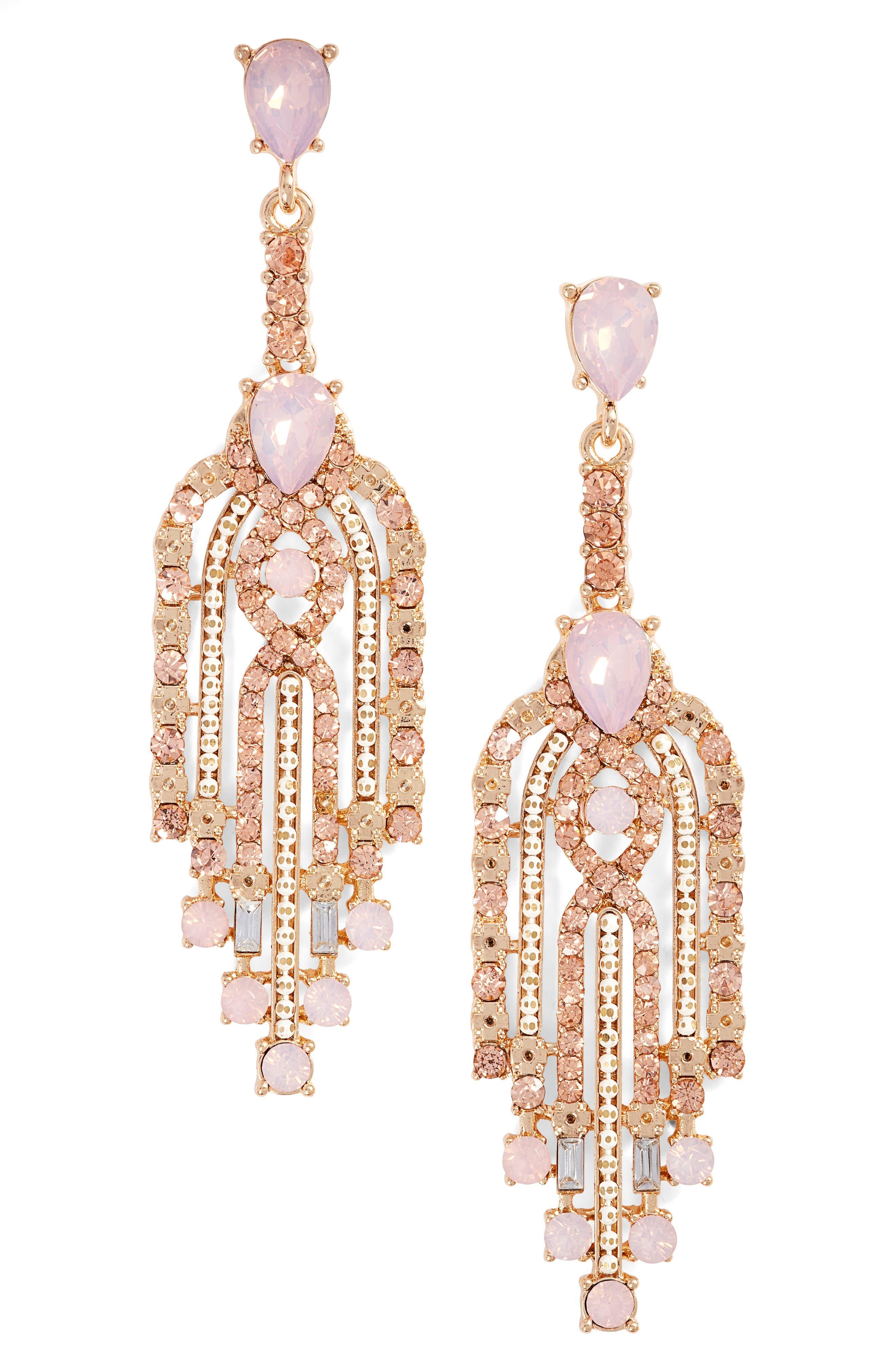Crystal Drop Earrings,                         Main,                         color, Pink