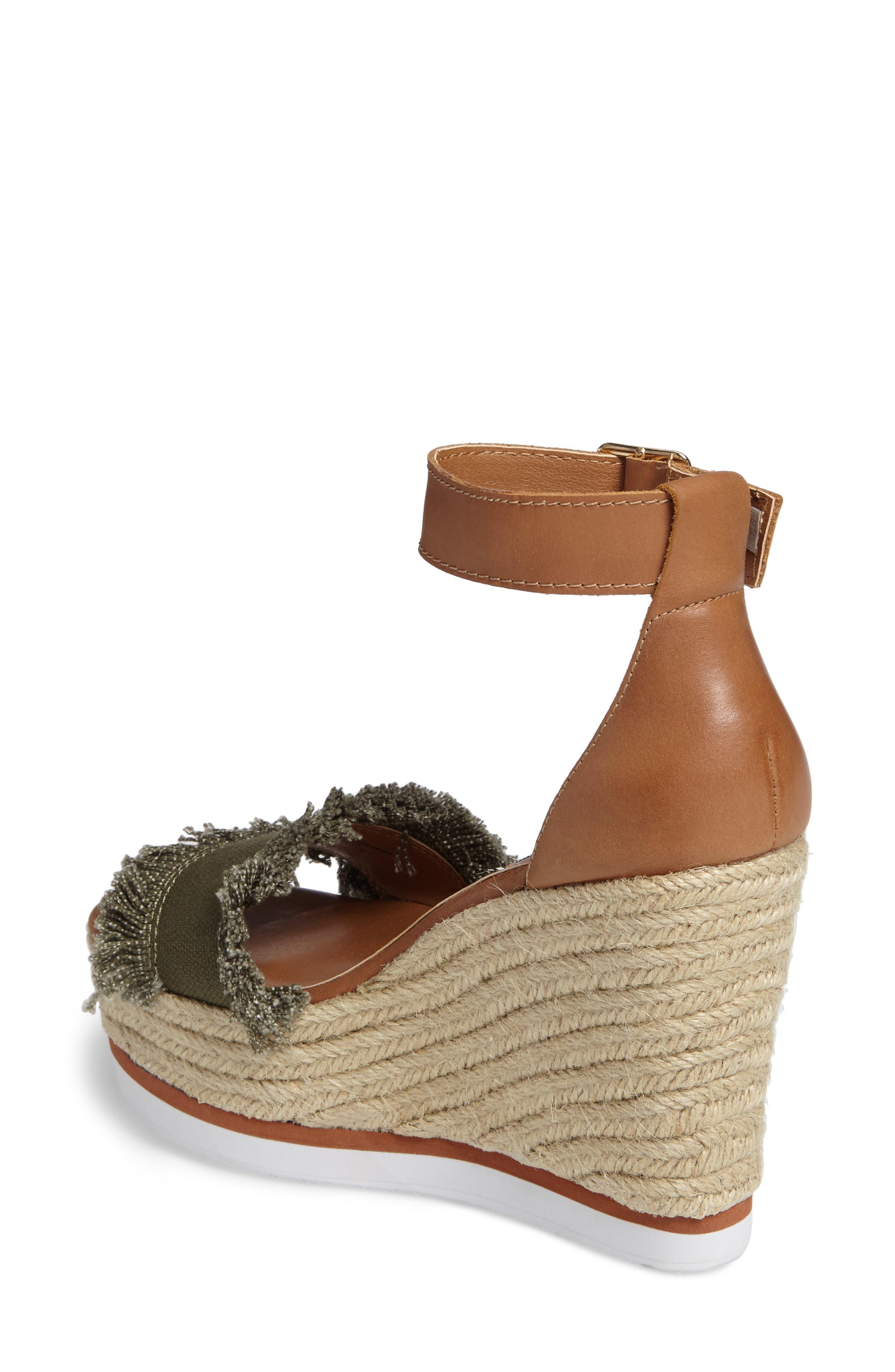 Valley Fringed Platform Wedge Sandal,                             Alternate thumbnail 2, color,                             Olive Fab