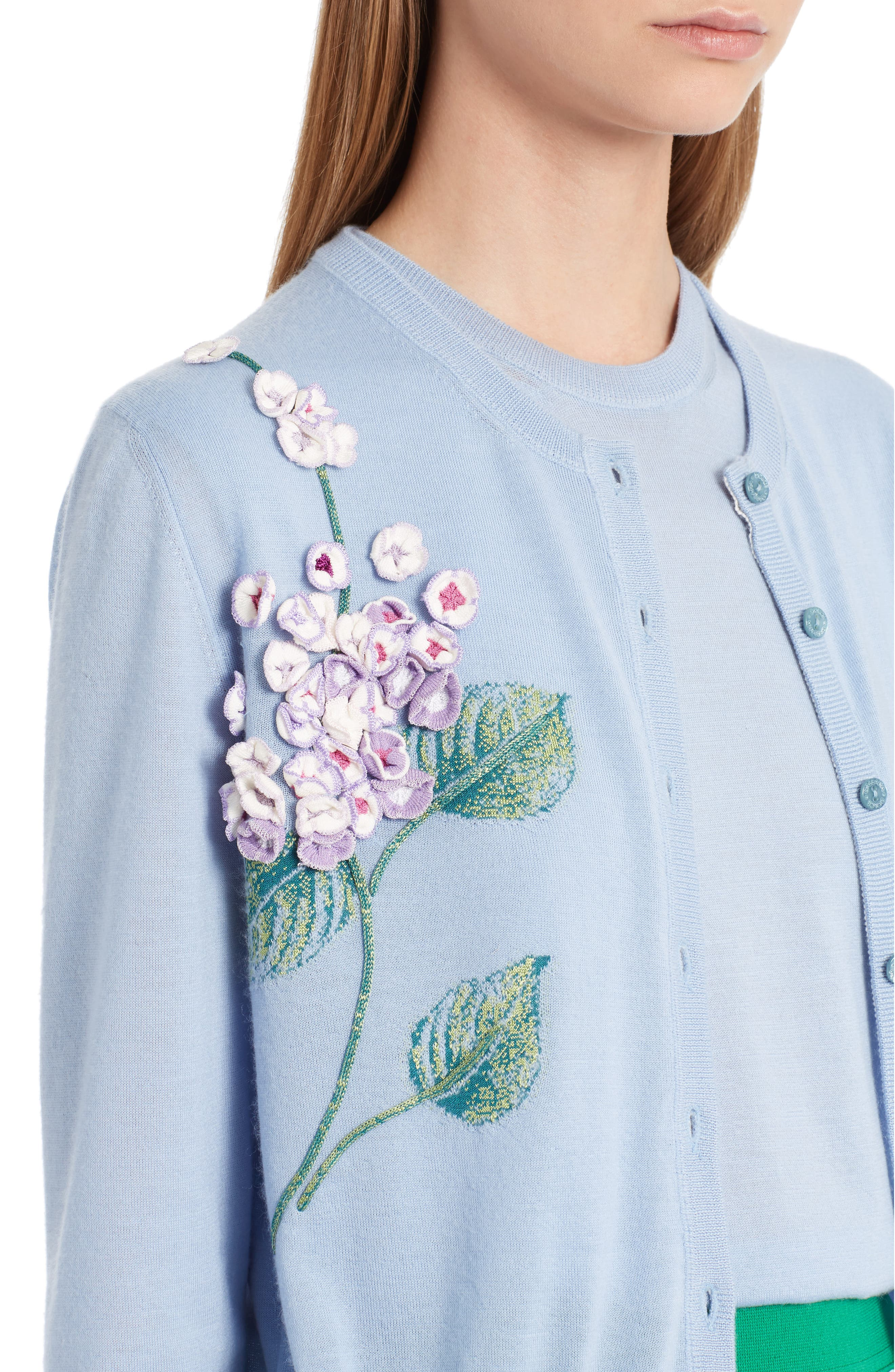 Embellished Cashmere & Silk Button Cardigan,                             Alternate thumbnail 5, color,                             Light Blue