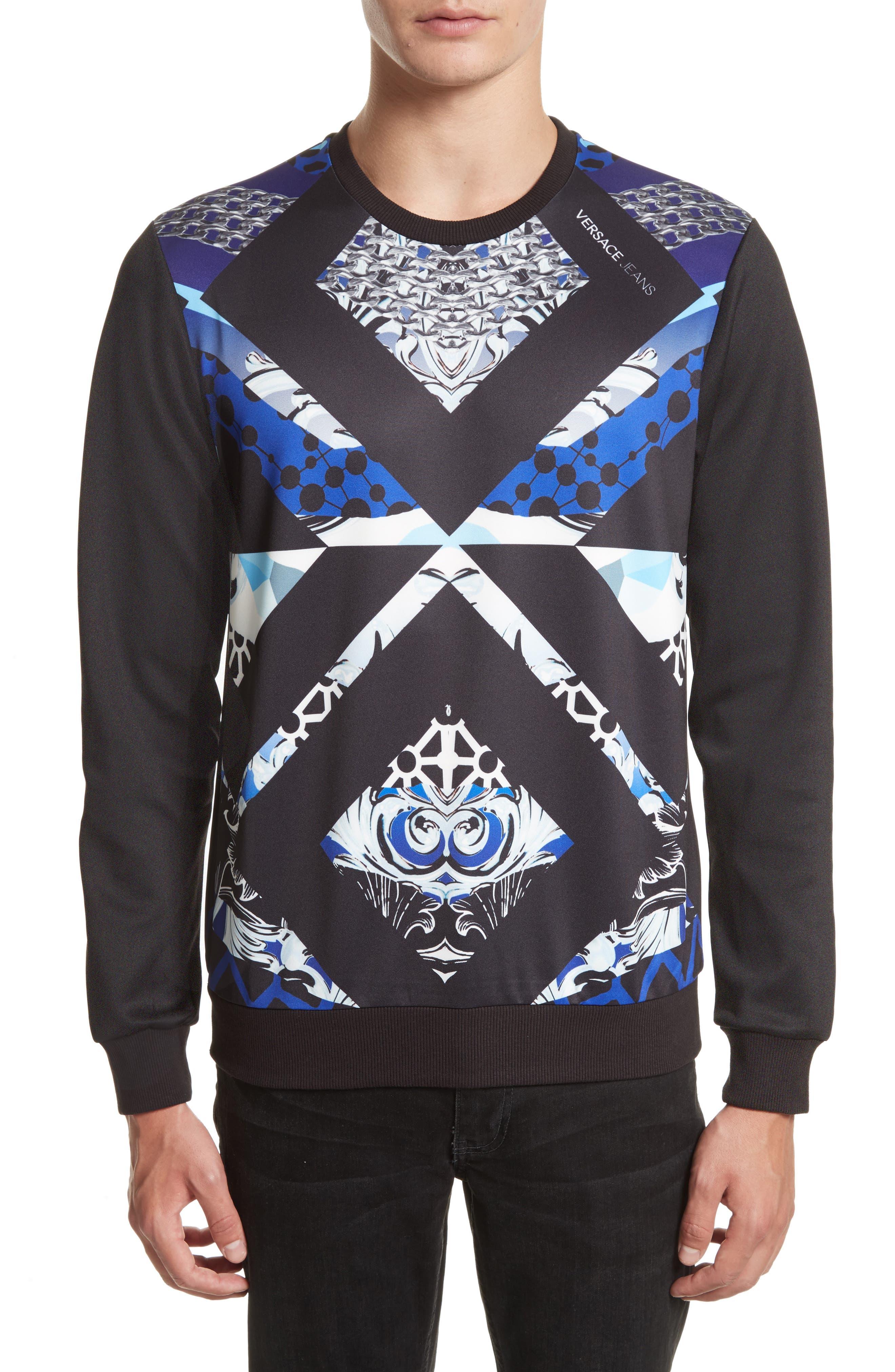 Chain Print Sweatshirt,                             Main thumbnail 1, color,                             Black