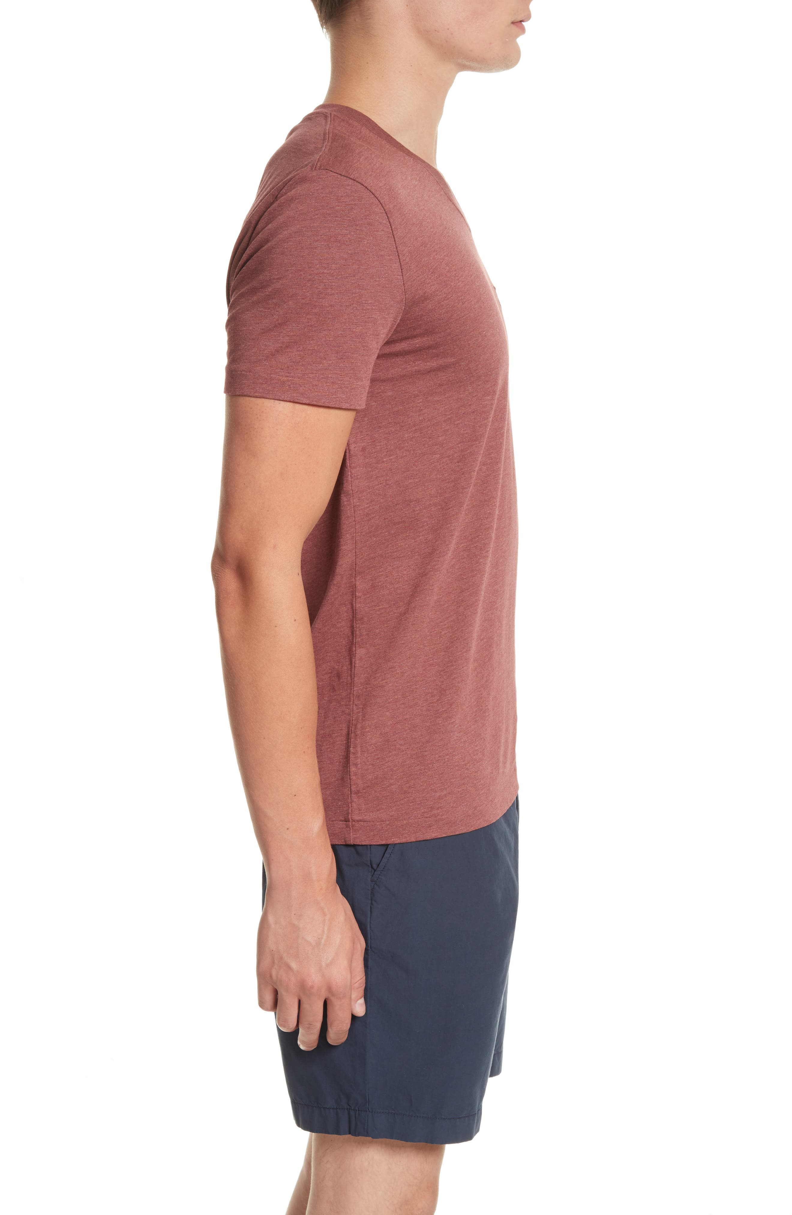 Lindon Cotton T-Shirt,                             Alternate thumbnail 3, color,                             Russet Melange