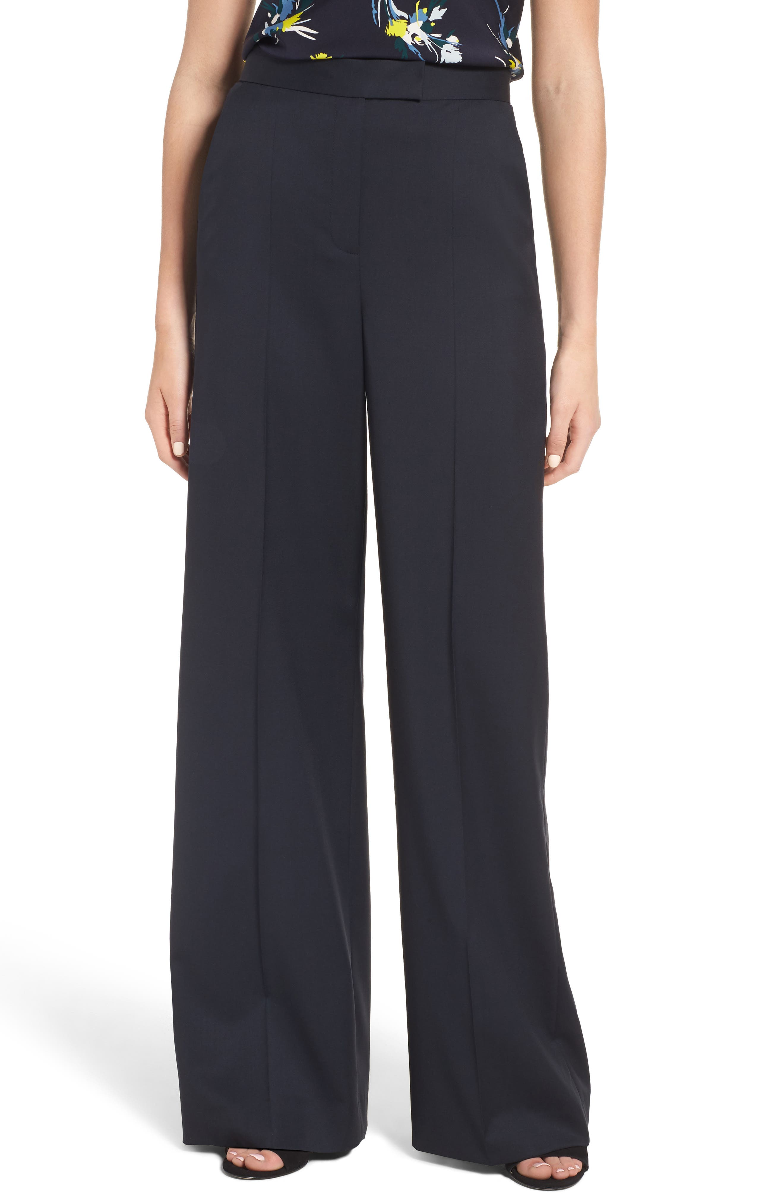 Wide Leg Trousers,                         Main,                         color, Navy Night