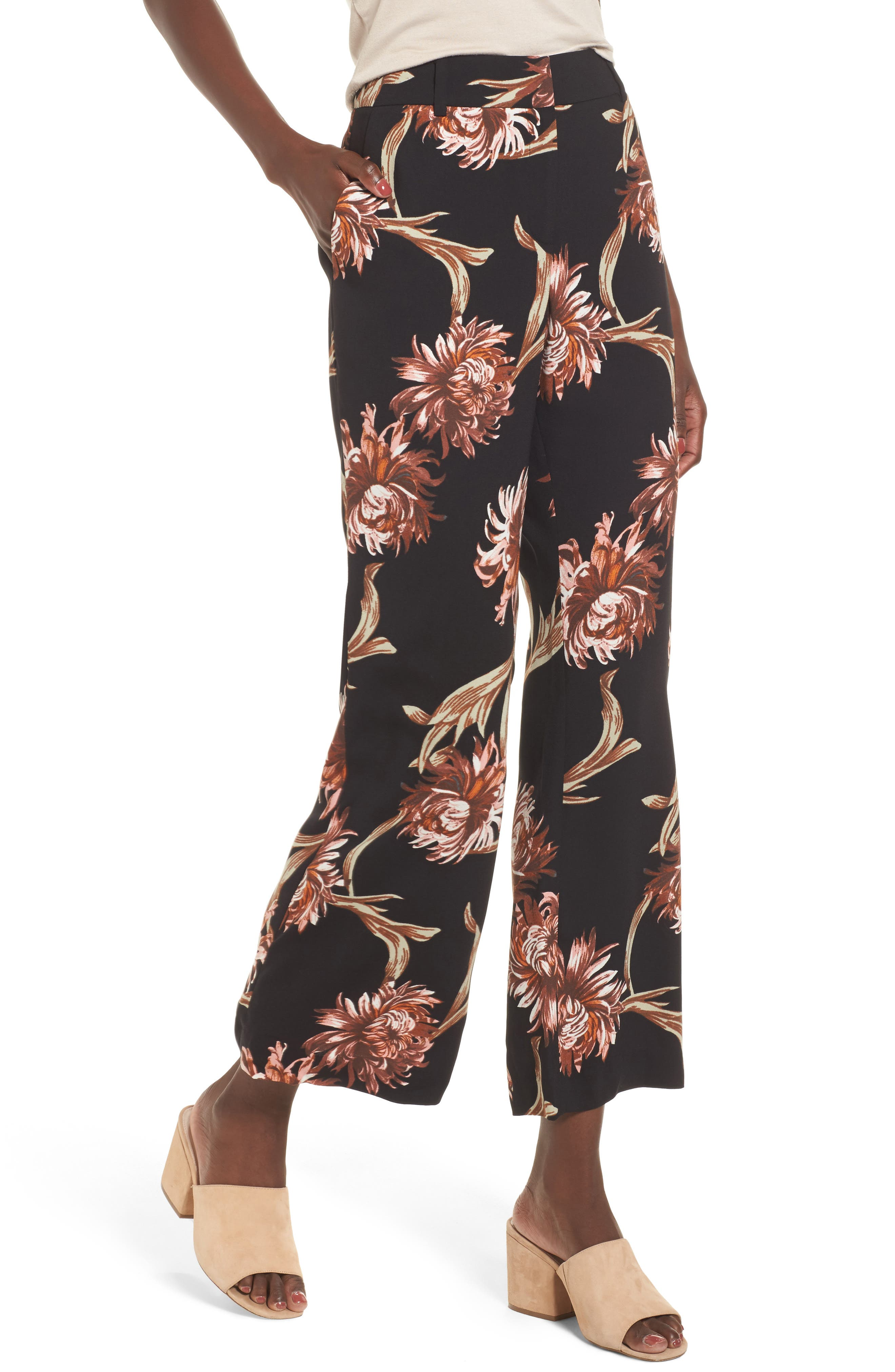 Printed Wide Leg Pants,                         Main,                         color, Black Nouveau Floral