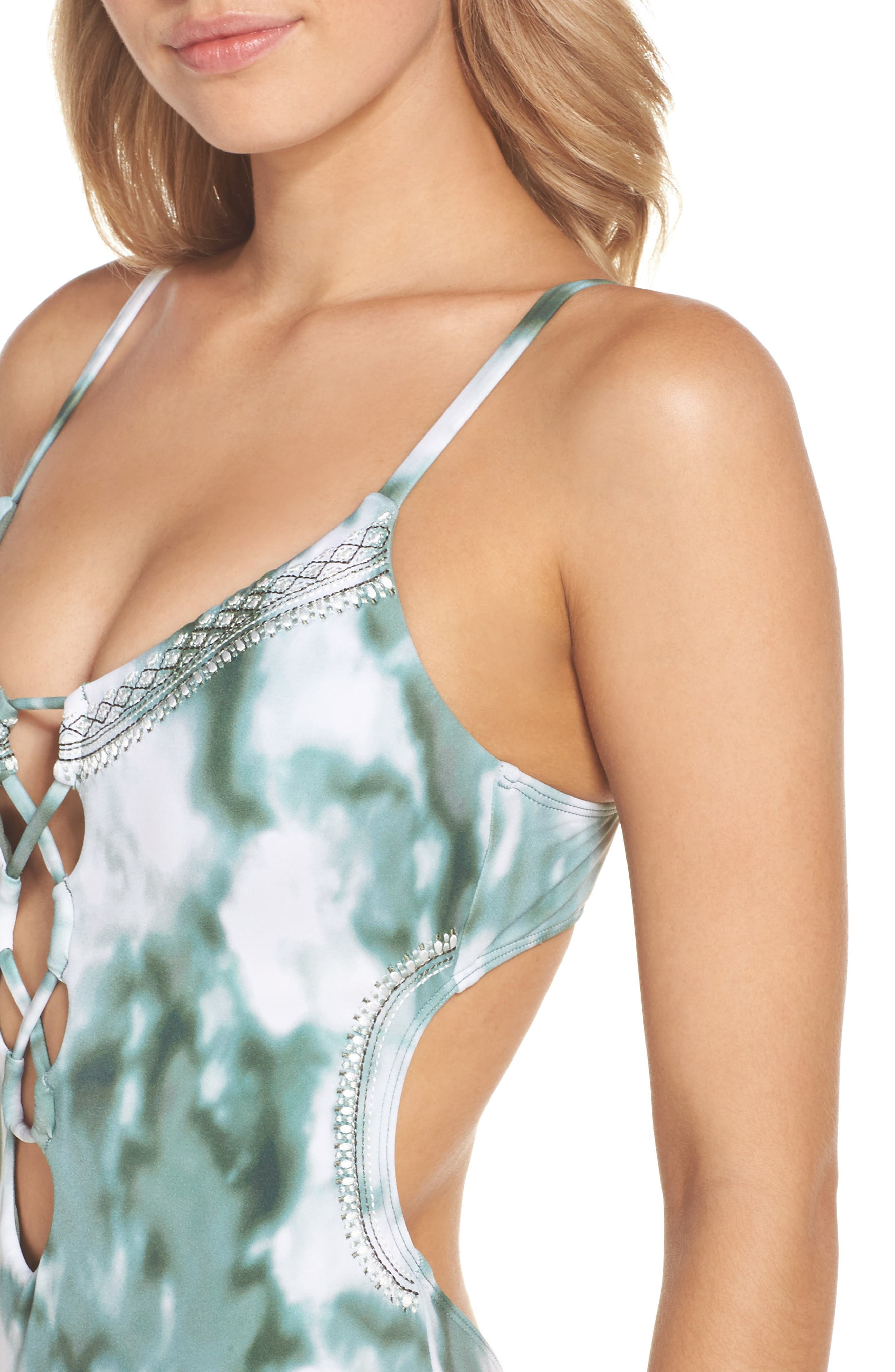 Indian Summer One-Piece Swimsuit,                             Alternate thumbnail 4, color,                             Olive