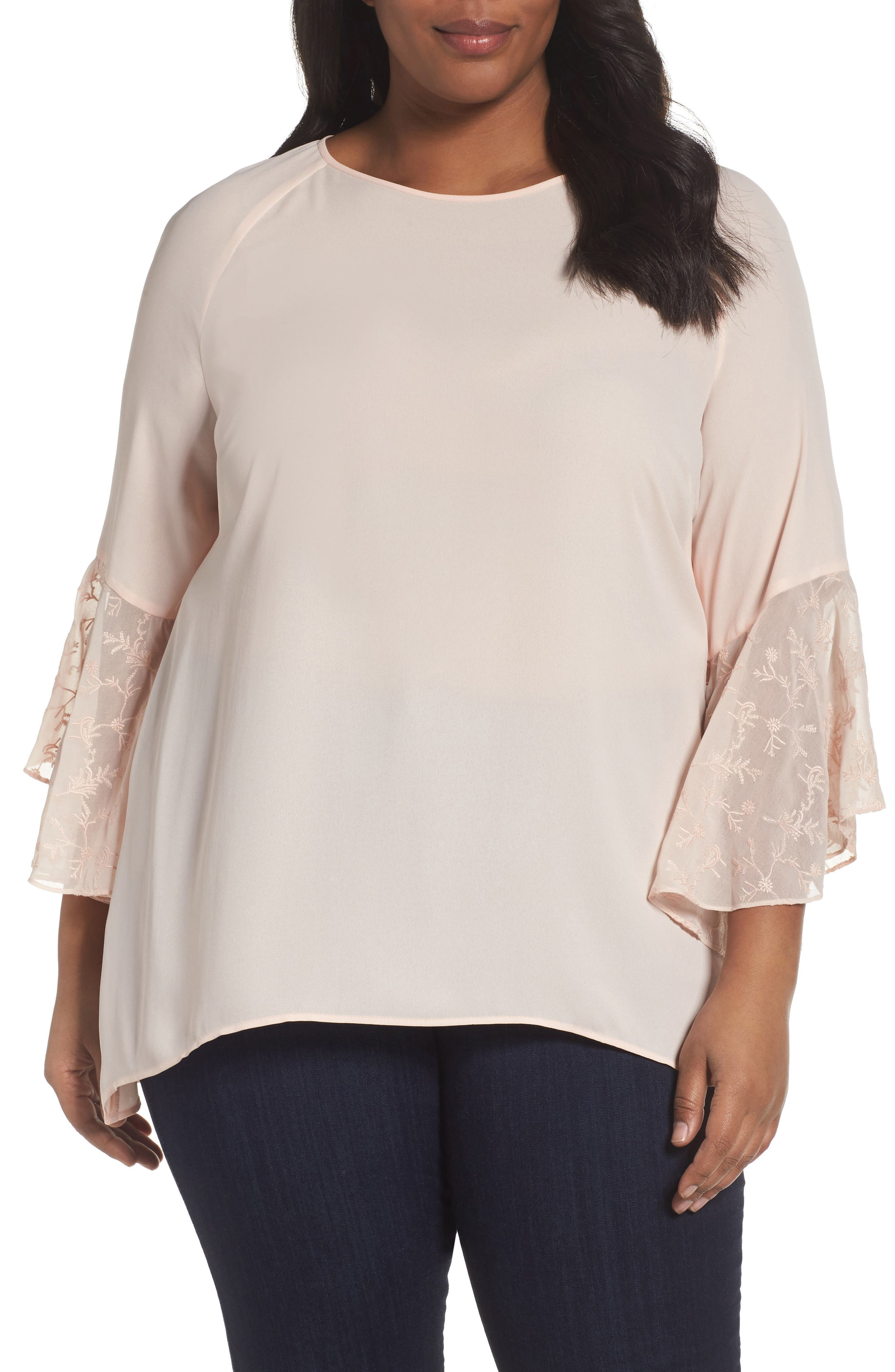 Alternate Image 1 Selected - Sejour Embroidered Bell Sleeve Blouse (Plus Size)
