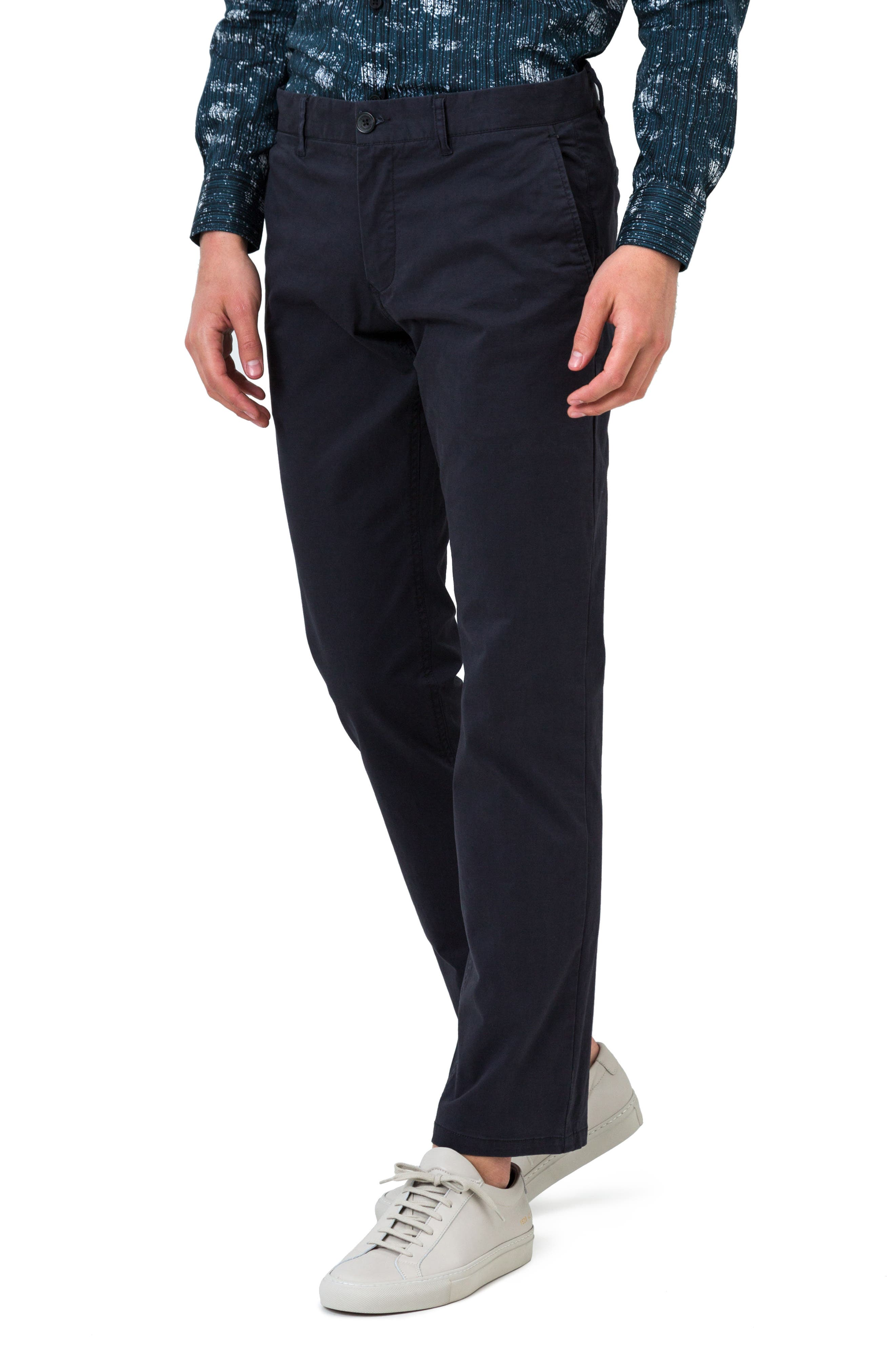 Voyage Slim Fit Chinos,                             Alternate thumbnail 3, color,                             Navy