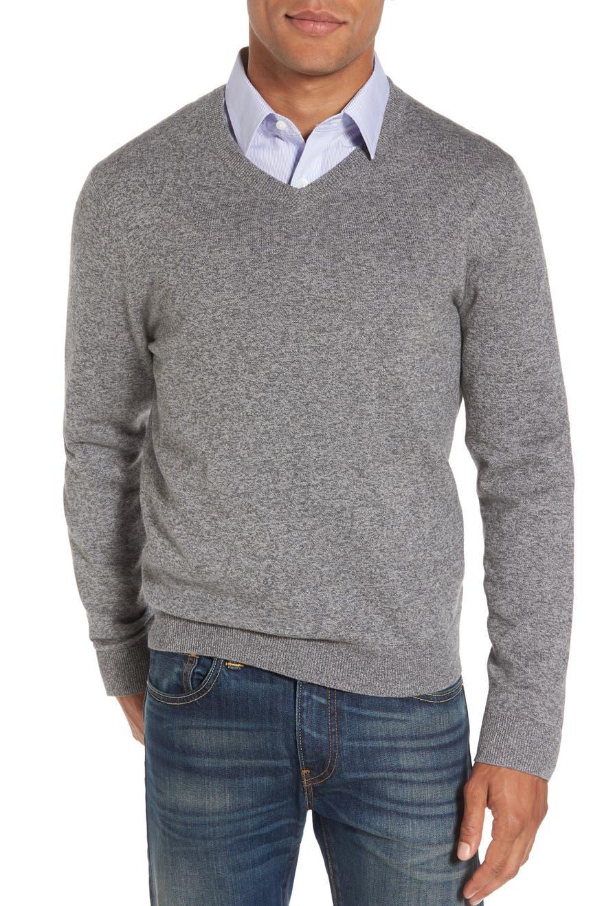 Nordstrom Men's Shop Cotton & Cashmere V-Neck Sweater (Regular ...