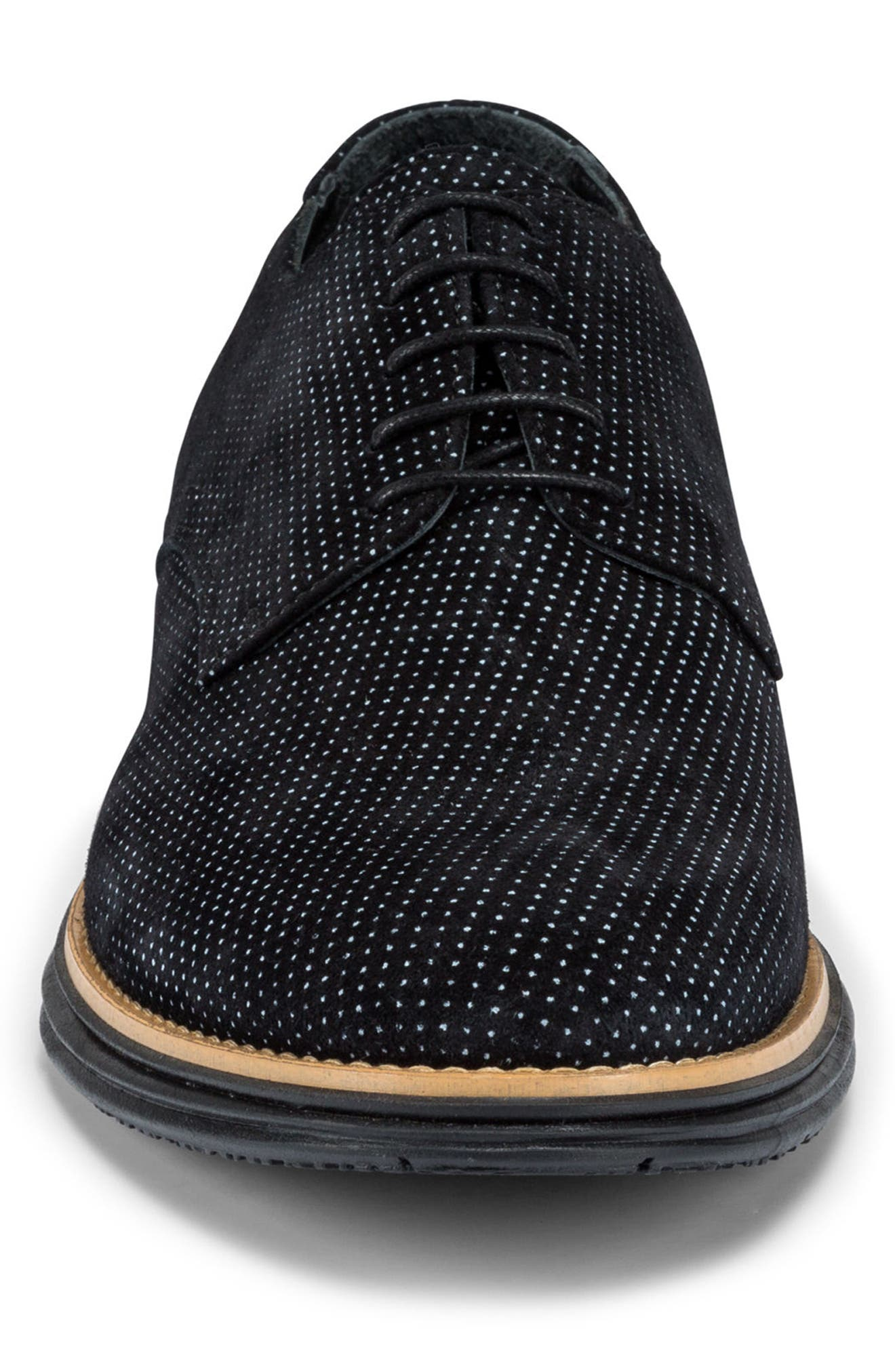 Manarola Dot Pattern Derby,                             Alternate thumbnail 4, color,                             Nero Suede