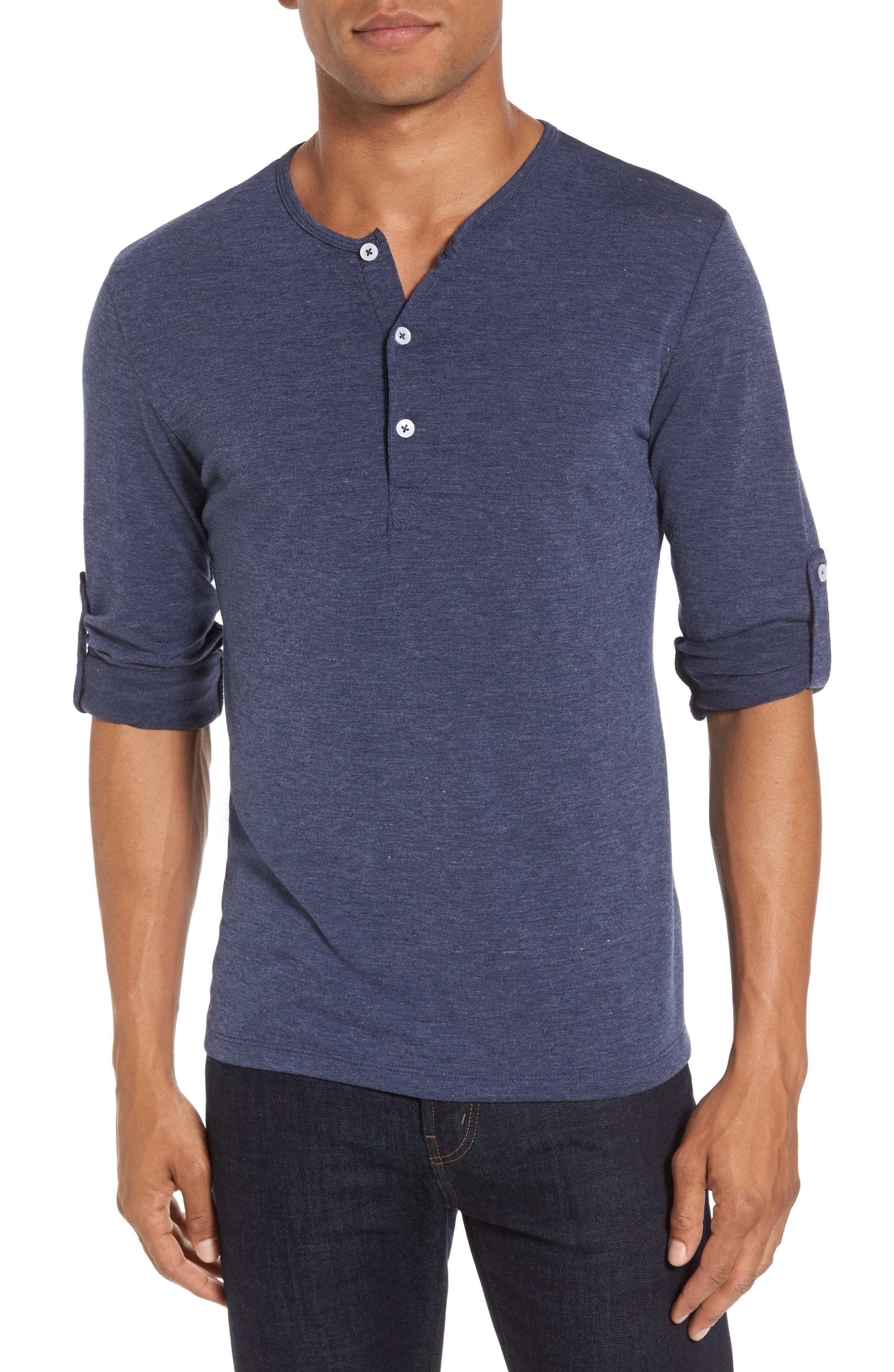 Mizzen+Main Dawson Heather Navy Henley (Tall)