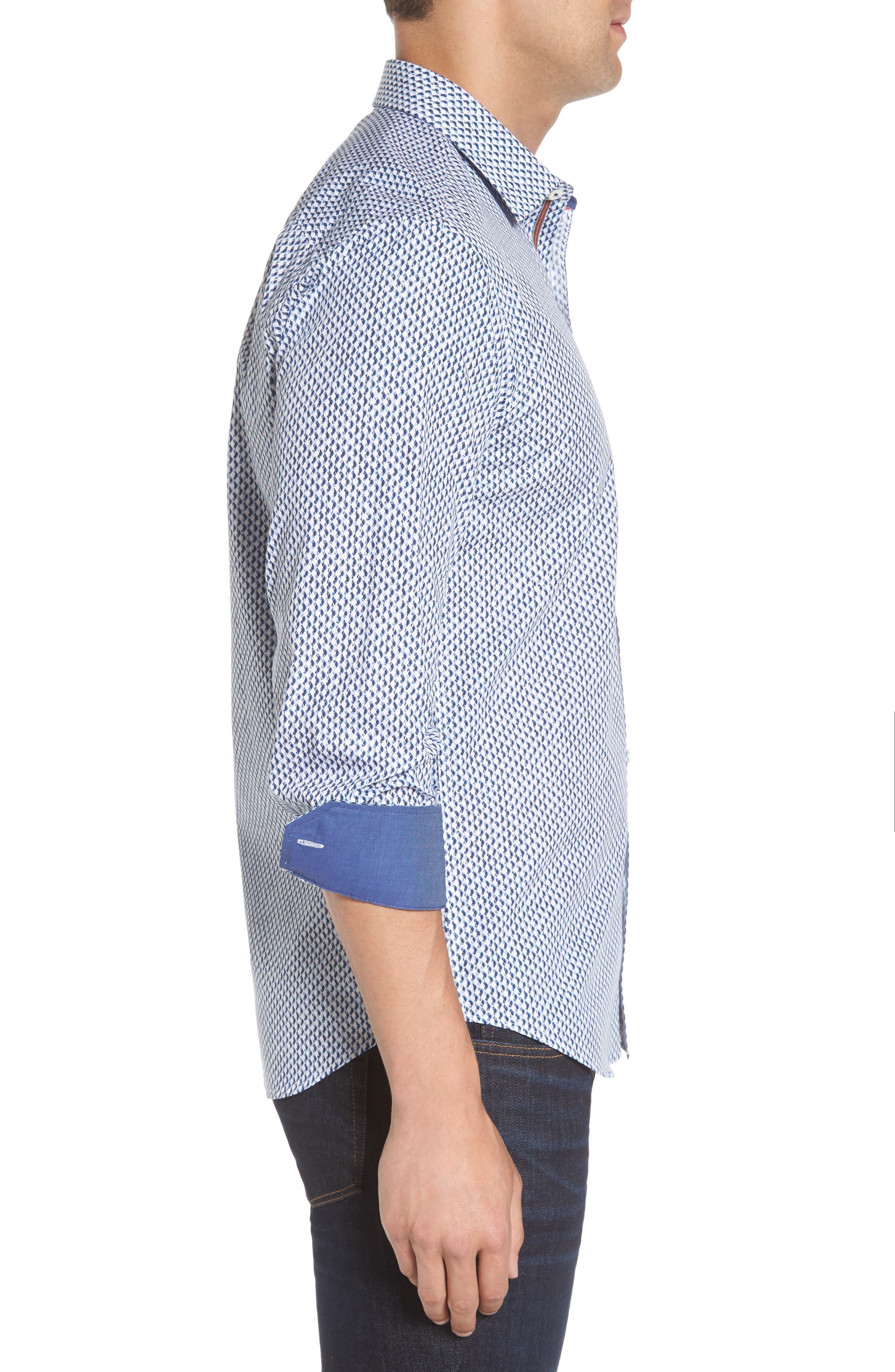Alternate Image 3  - Bugatchi Shaped Fit Grid Sport Shirt