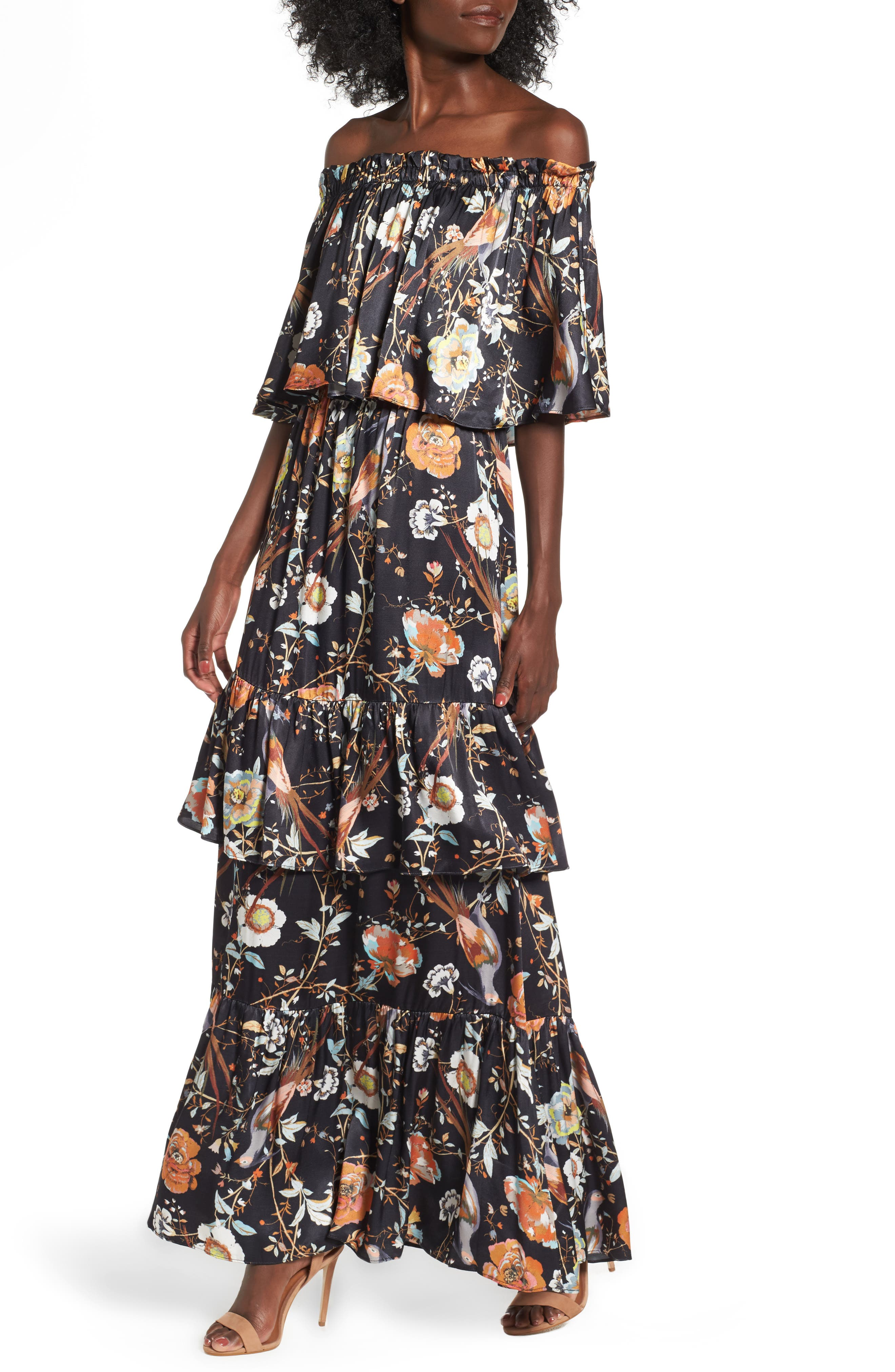 Cleo Off the Shoulder Maxi Dress,                         Main,                         color, Jardine