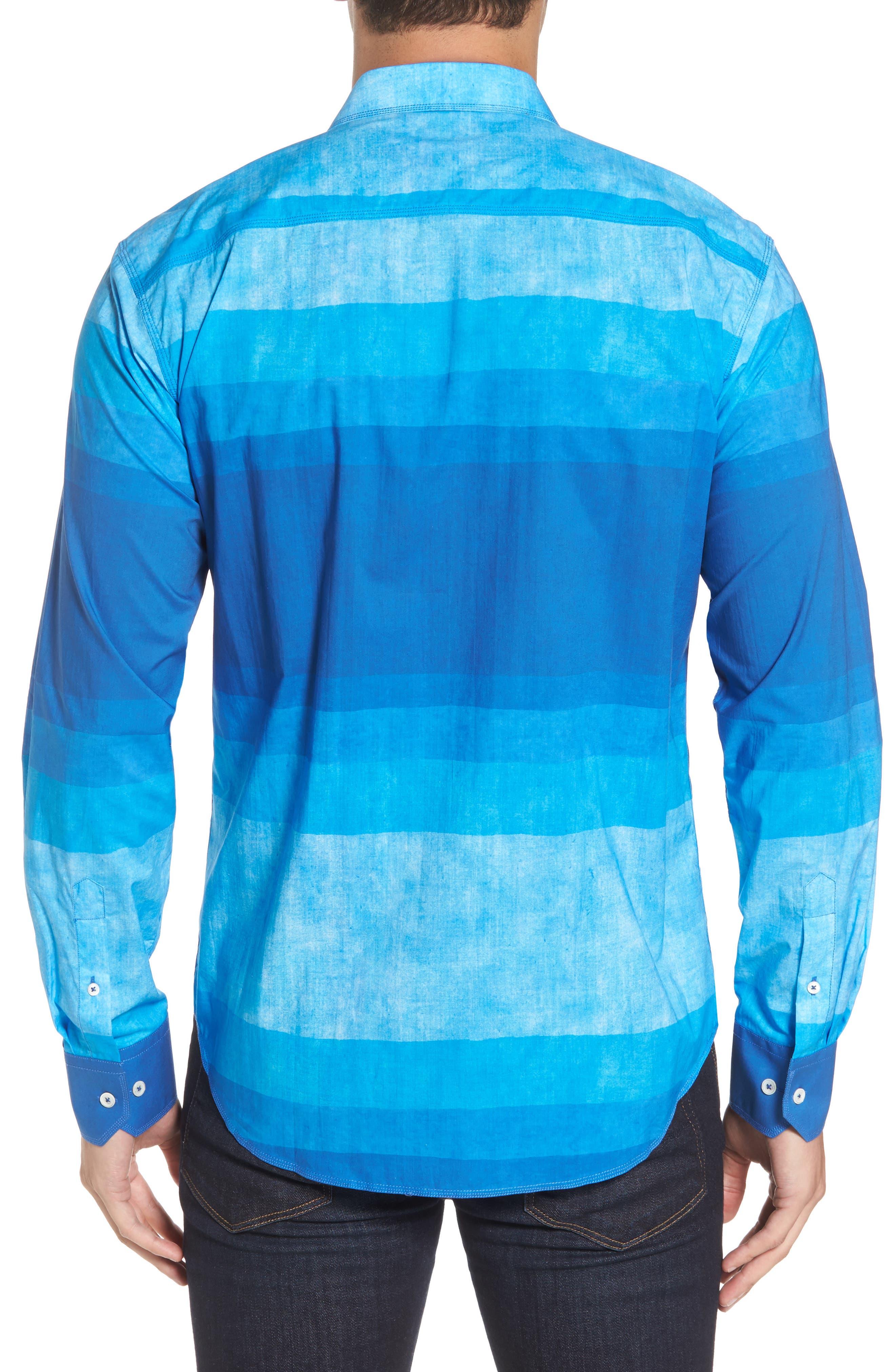 Shaped Fit Colorblock Sport Shirt,                             Alternate thumbnail 2, color,                             Classic Blue