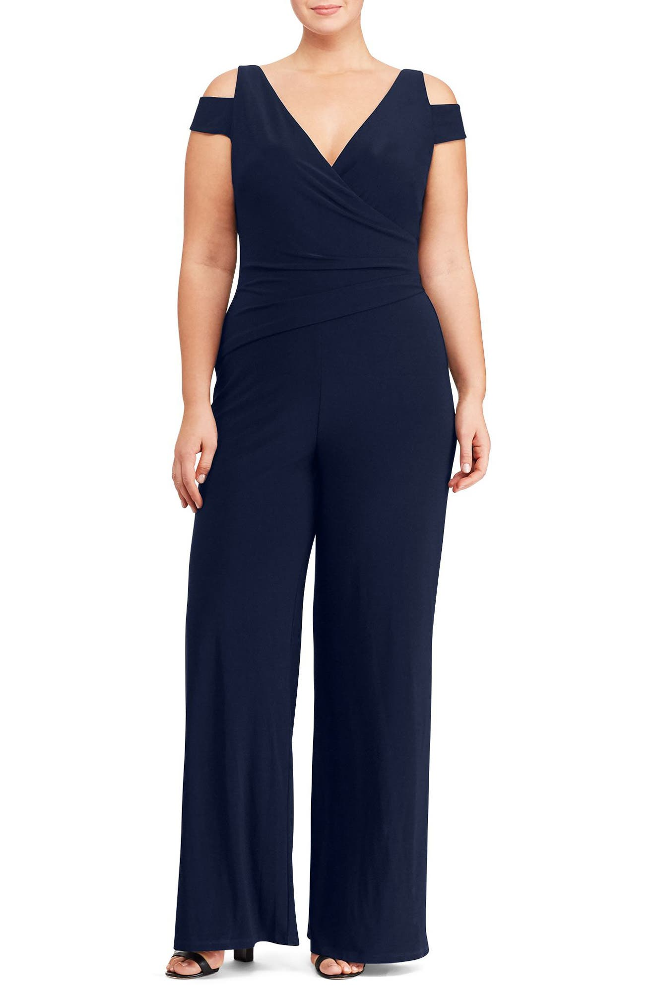 Main Image - Lauren Ralph Lauren Cold Shoulder Jersey Jumpsuit (Plus Size)