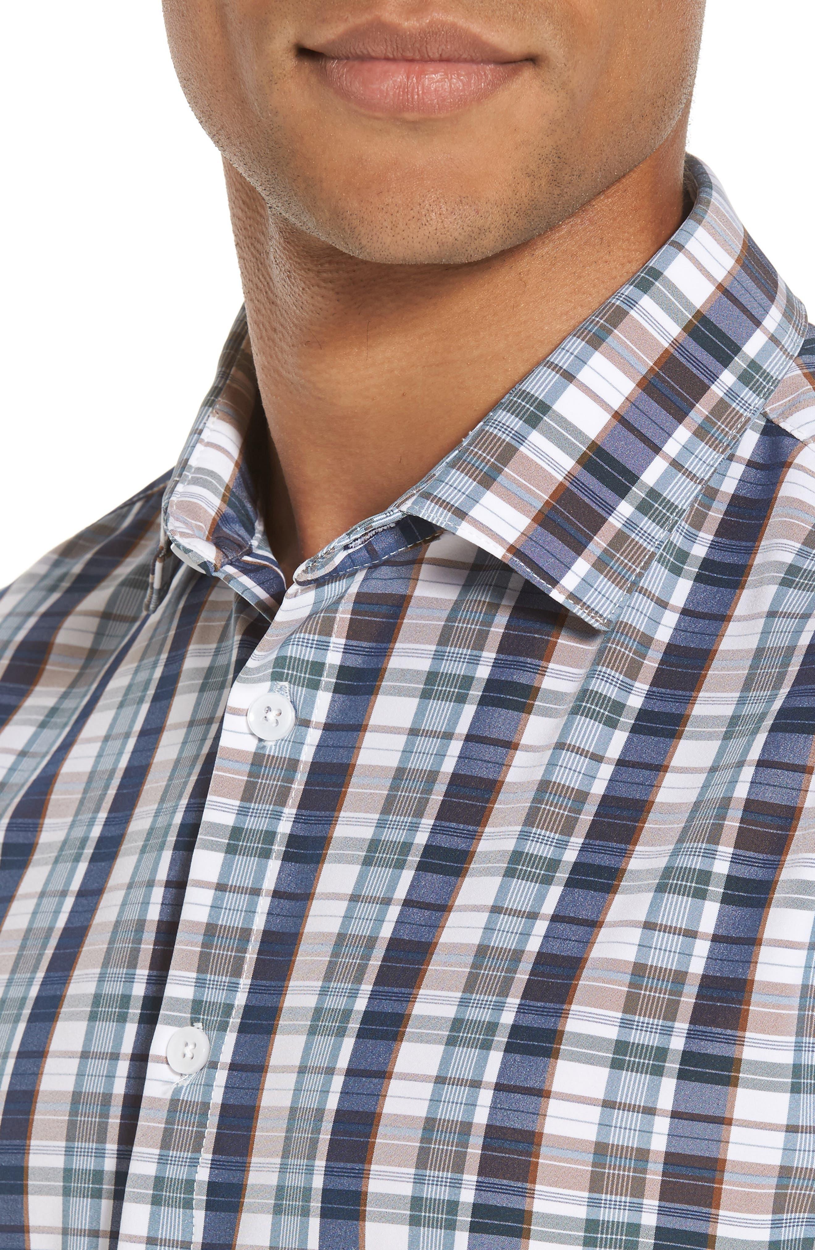 Alternate Image 4  - Mizzen+Main Russell Madras Plaid Performance Sport Shirt (Regular & Tall)