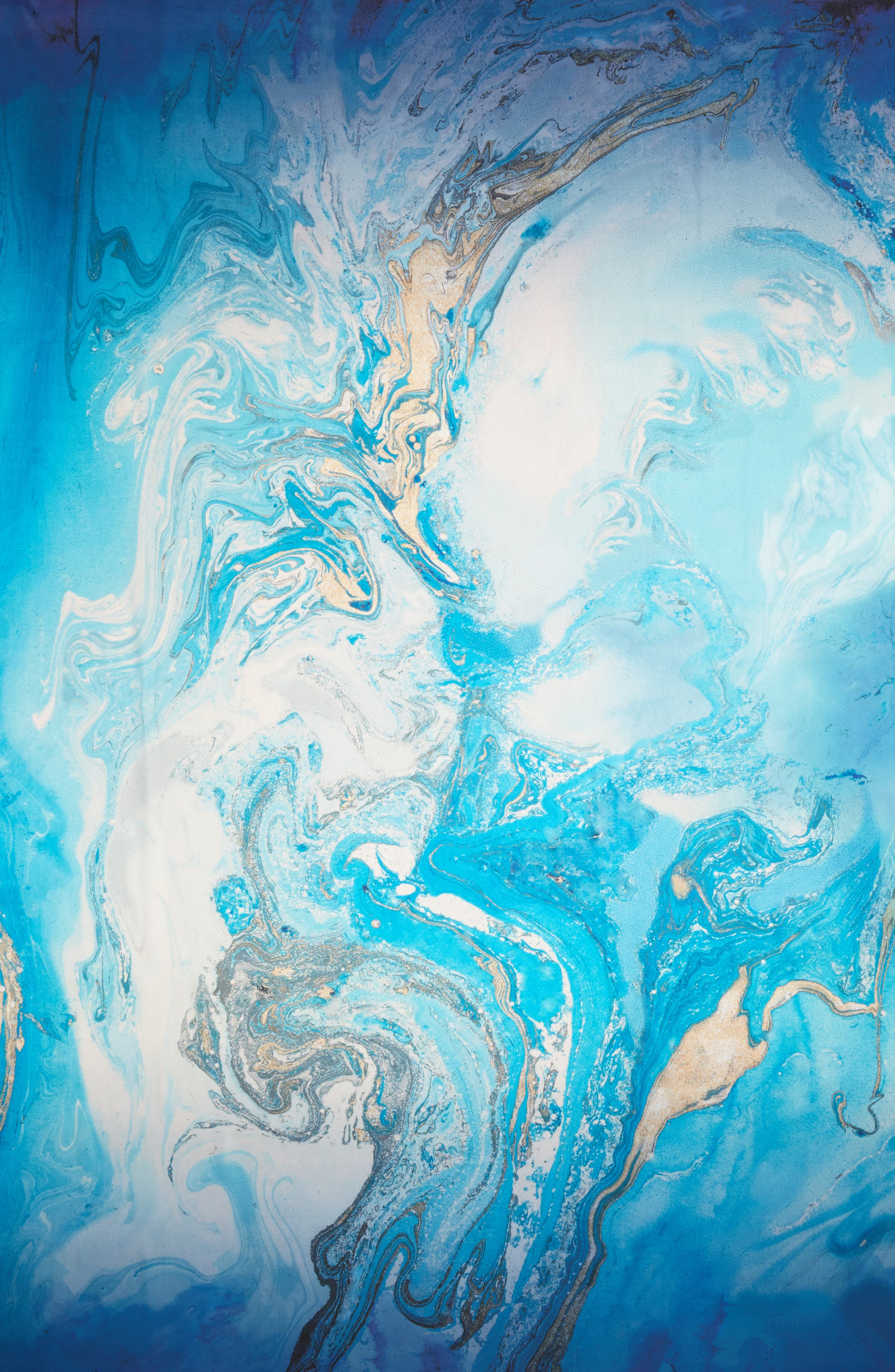 Ocean Ombré Silk Wrap,                             Alternate thumbnail 3, color,                             Blue Combo
