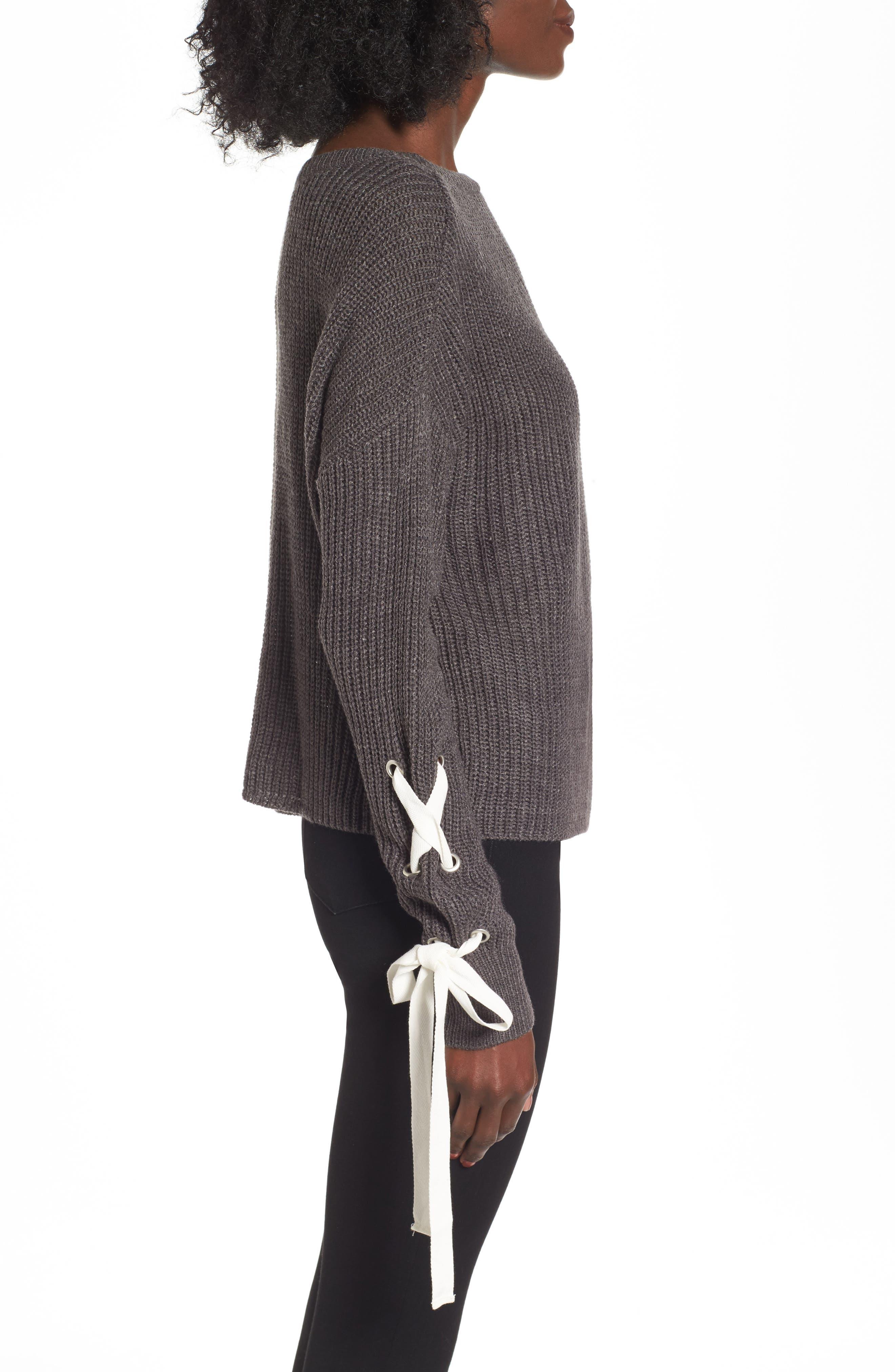 Alternate Image 3  - Madison & Berkeley Laced Sleeve Sweater