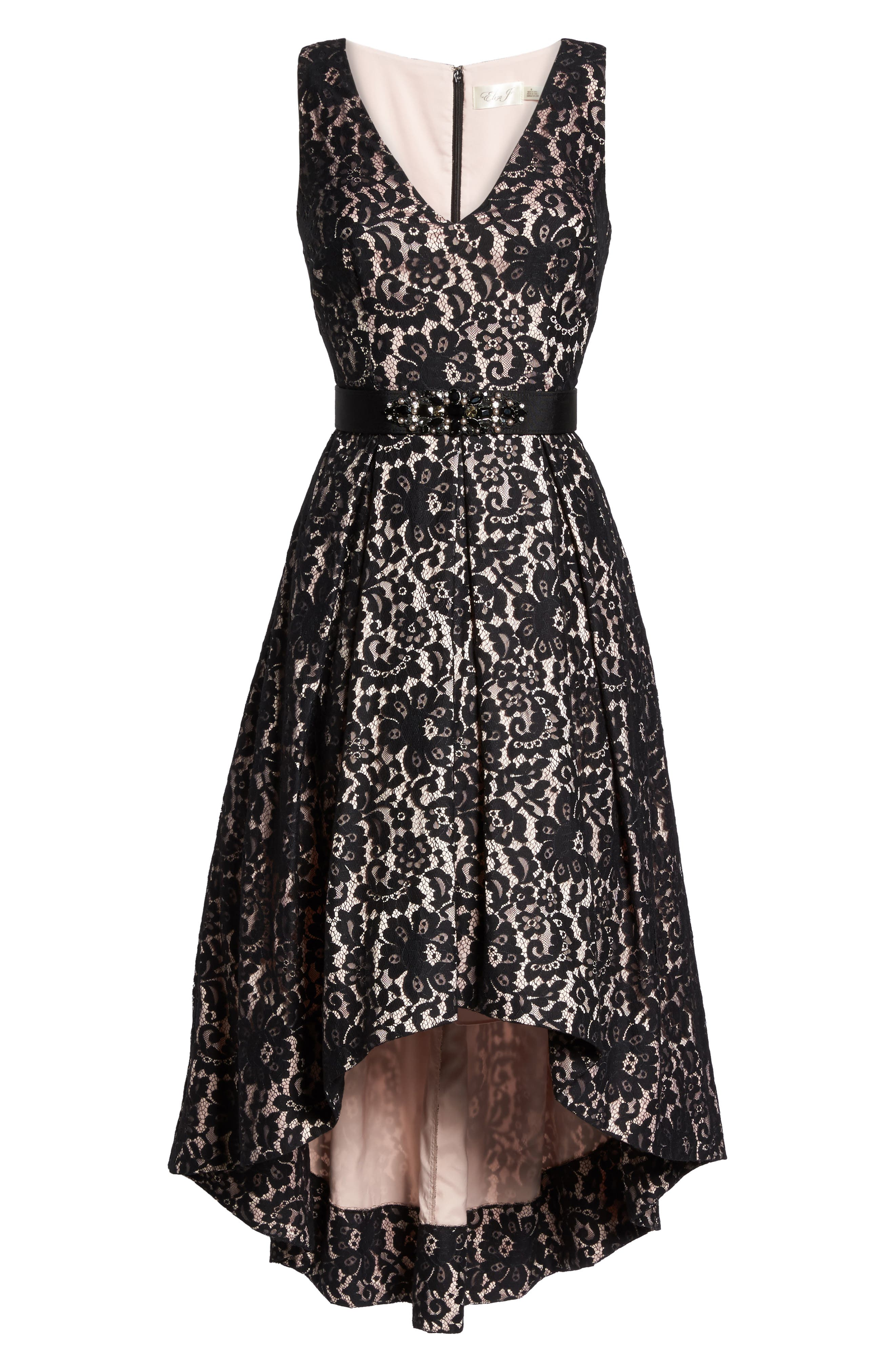 Belted Lace High/Low Dress,                             Alternate thumbnail 6, color,                             Black/ Blush