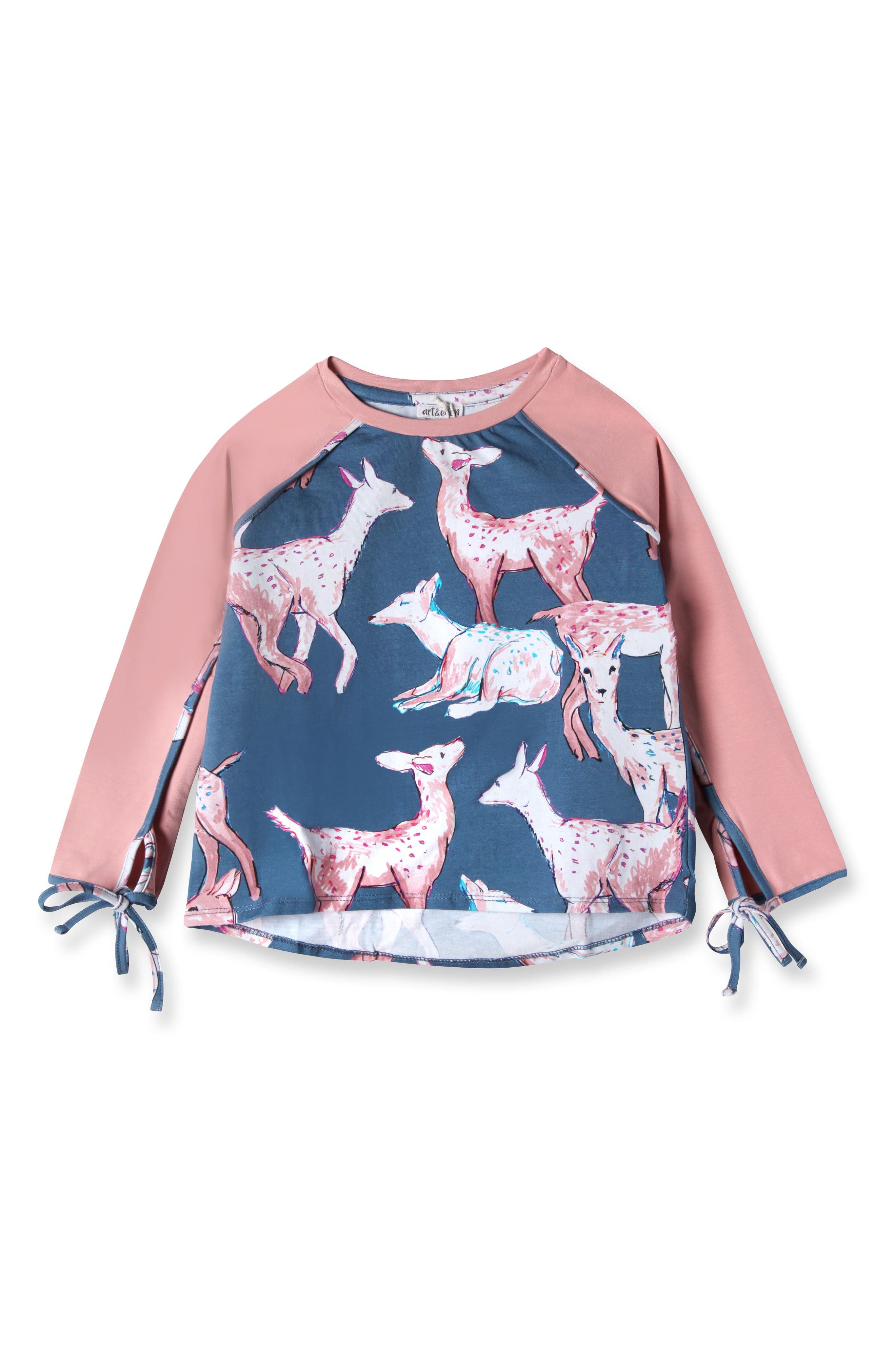 Main Image - Art & Eden Gabriella Tie Cuff Deer Top (Toddler Girls & Little Girls)