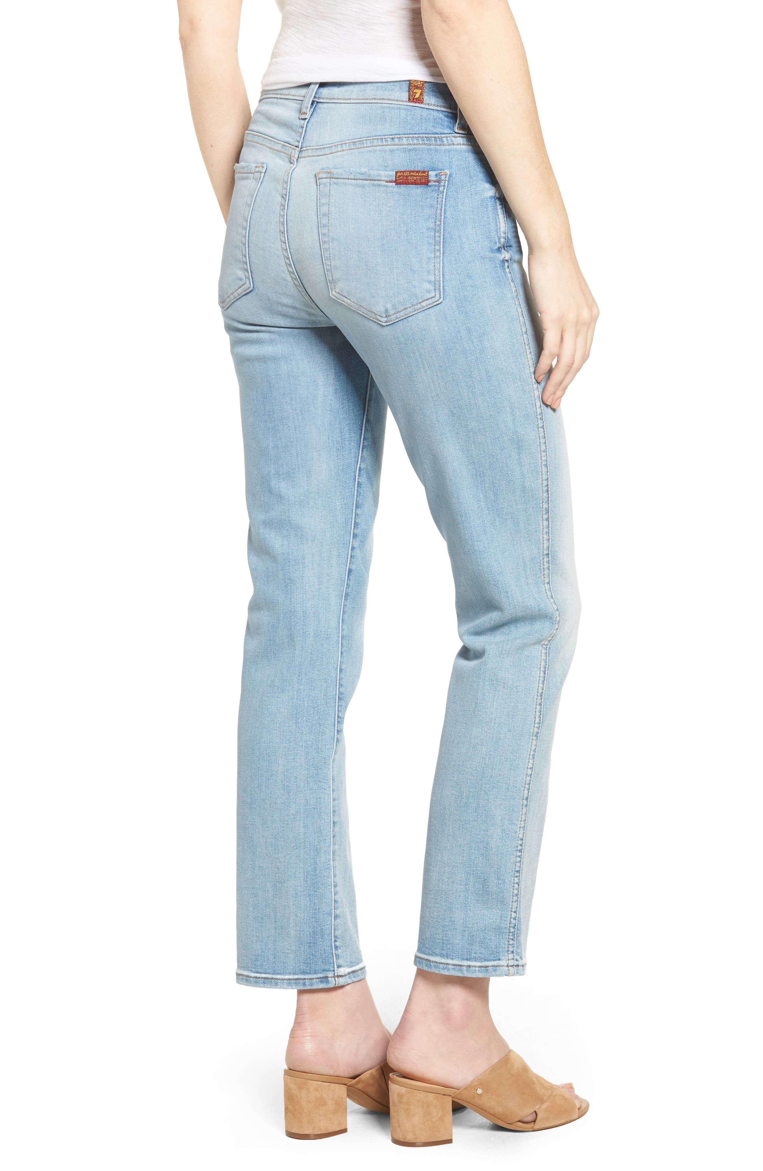 Alternate Image 2  - 7 For All Mankind® Edie High Waist Crop Jeans (Vintage Azure)
