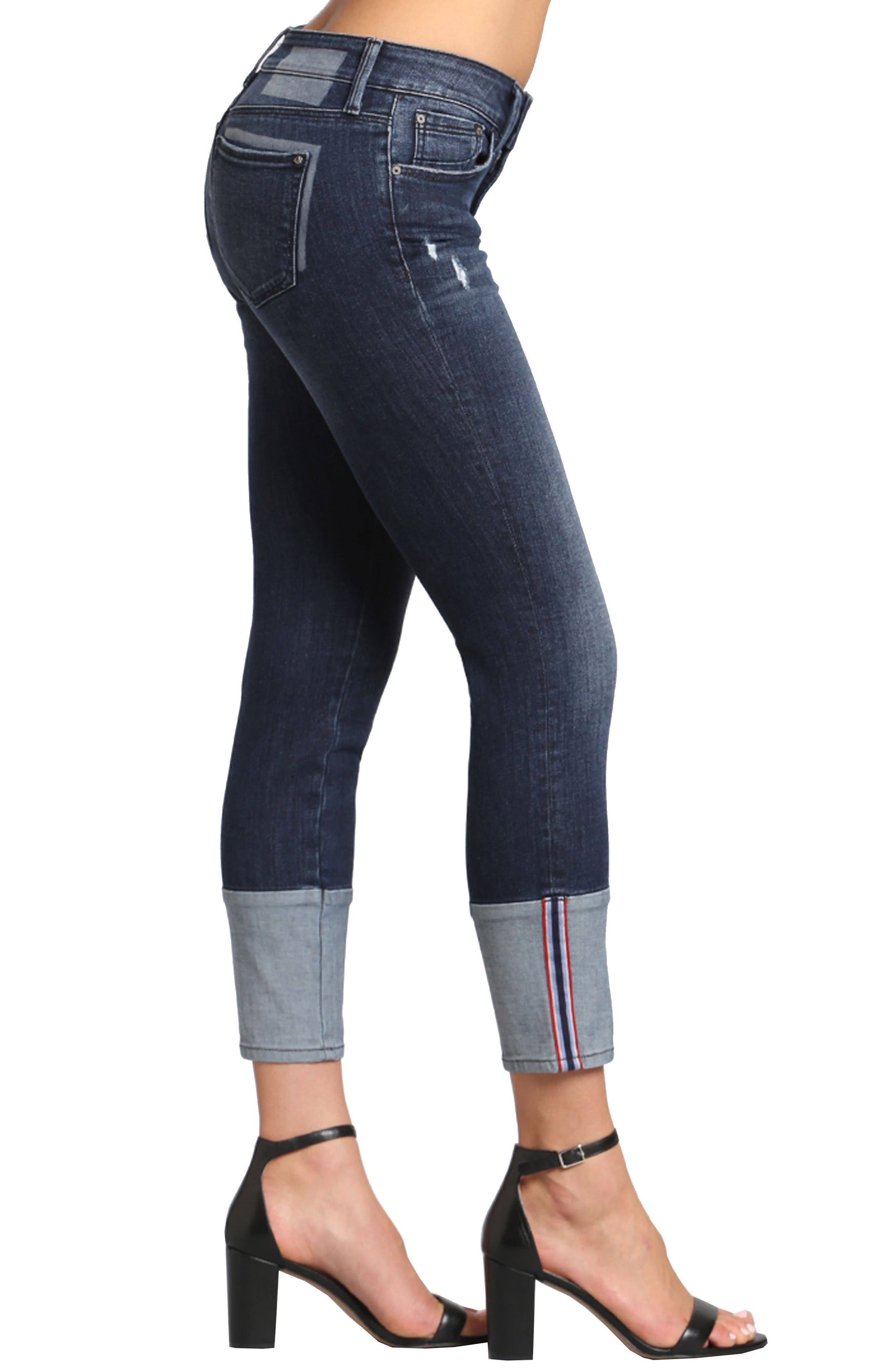 Caisy Cuffed Skinny Crop Jeans,                             Alternate thumbnail 3, color,                             Dark Vintage