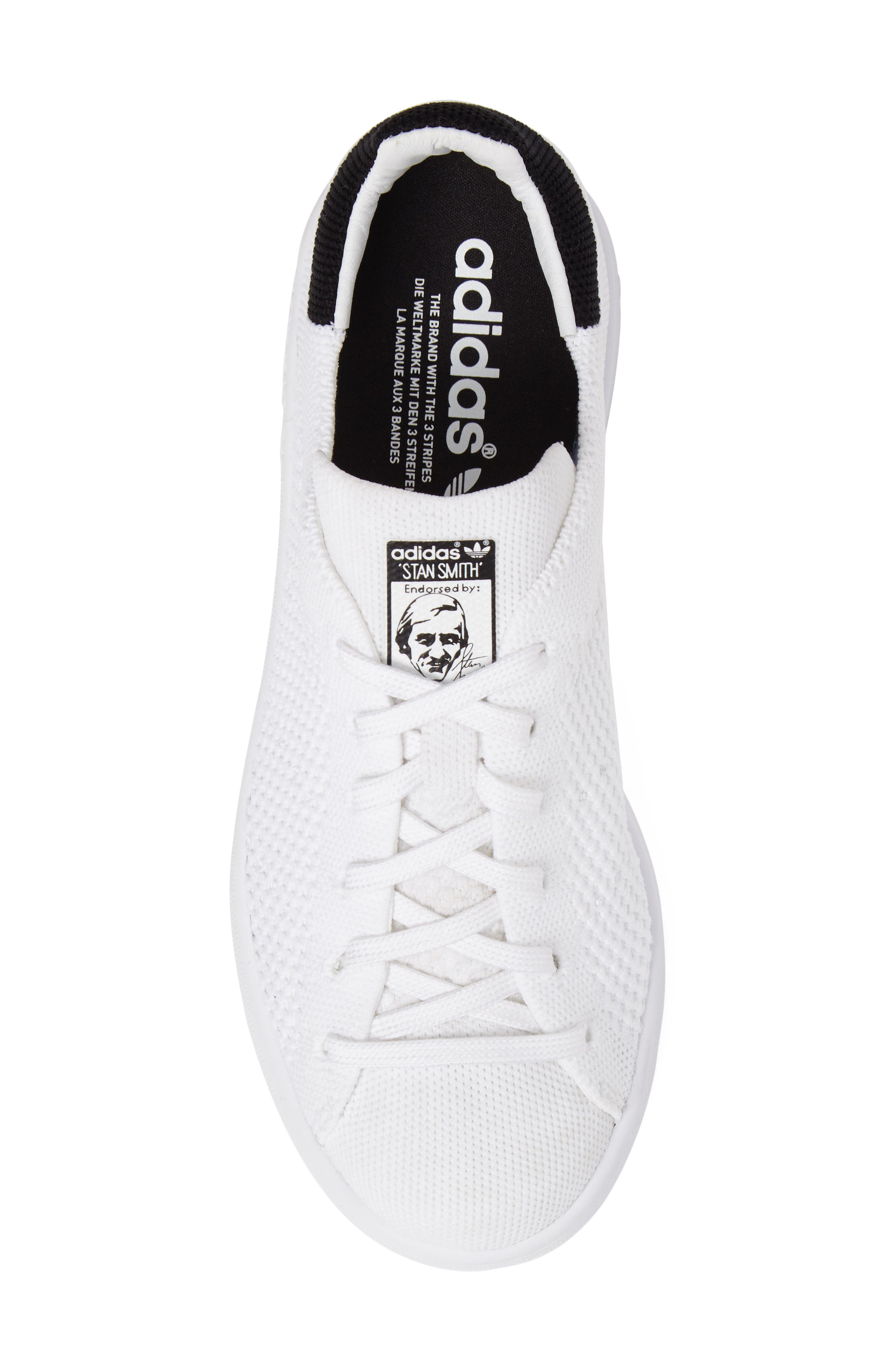 Stan Smith Primeknit Sneaker,                             Alternate thumbnail 5, color,                             Footwear White