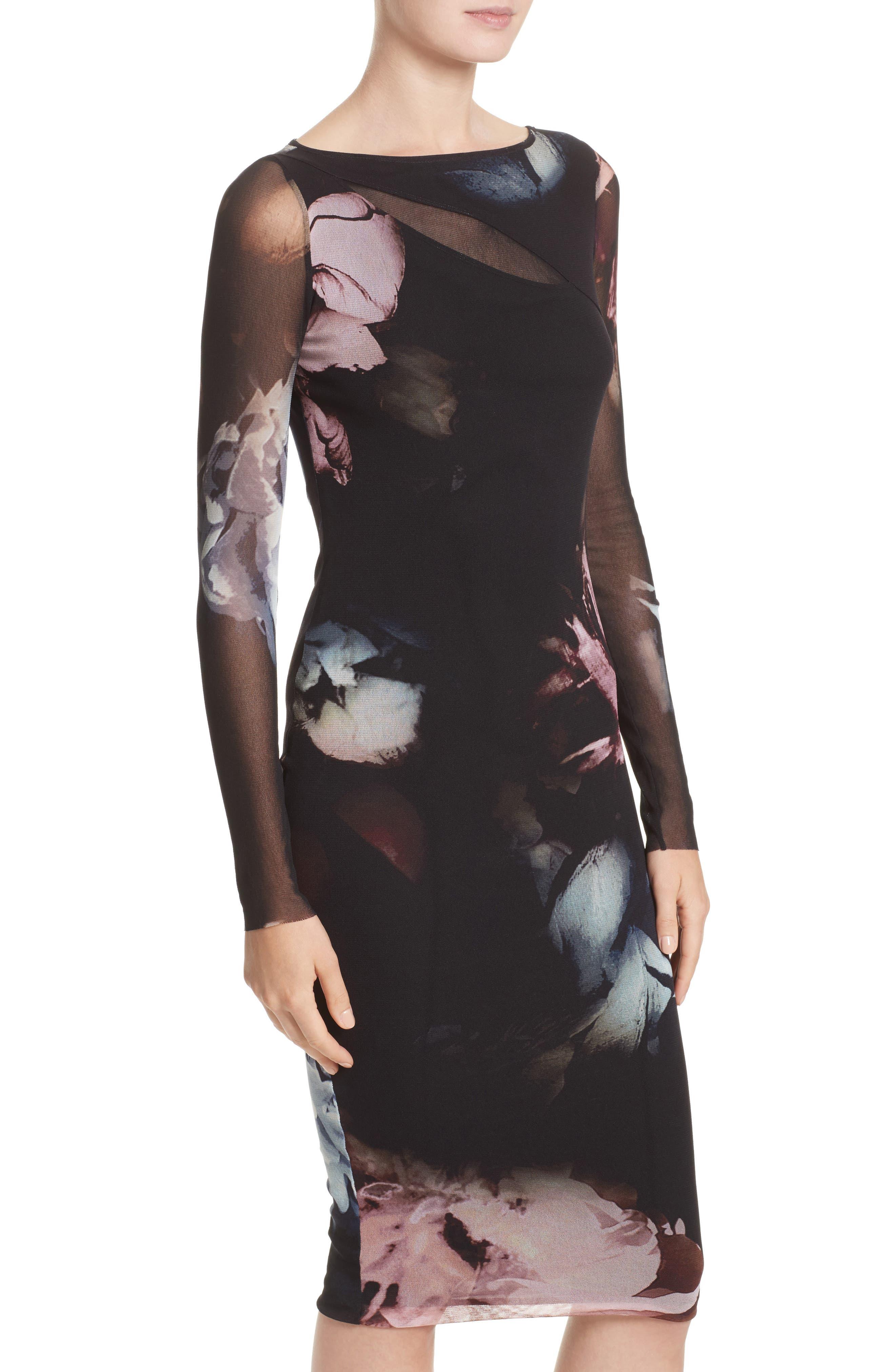 Slash Cutout Floral Print Tulle Dress,                             Alternate thumbnail 7, color,                             Graphite