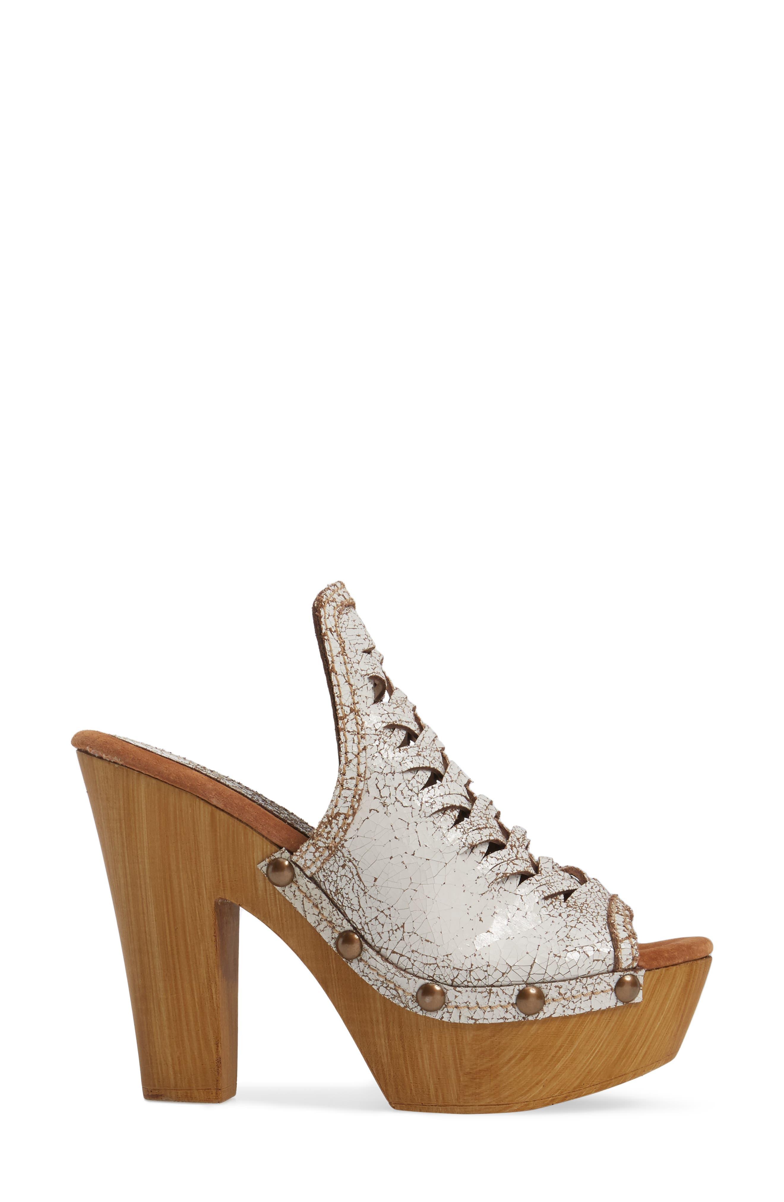 Kinga Platform Sandal,                             Alternate thumbnail 3, color,                             White Leather