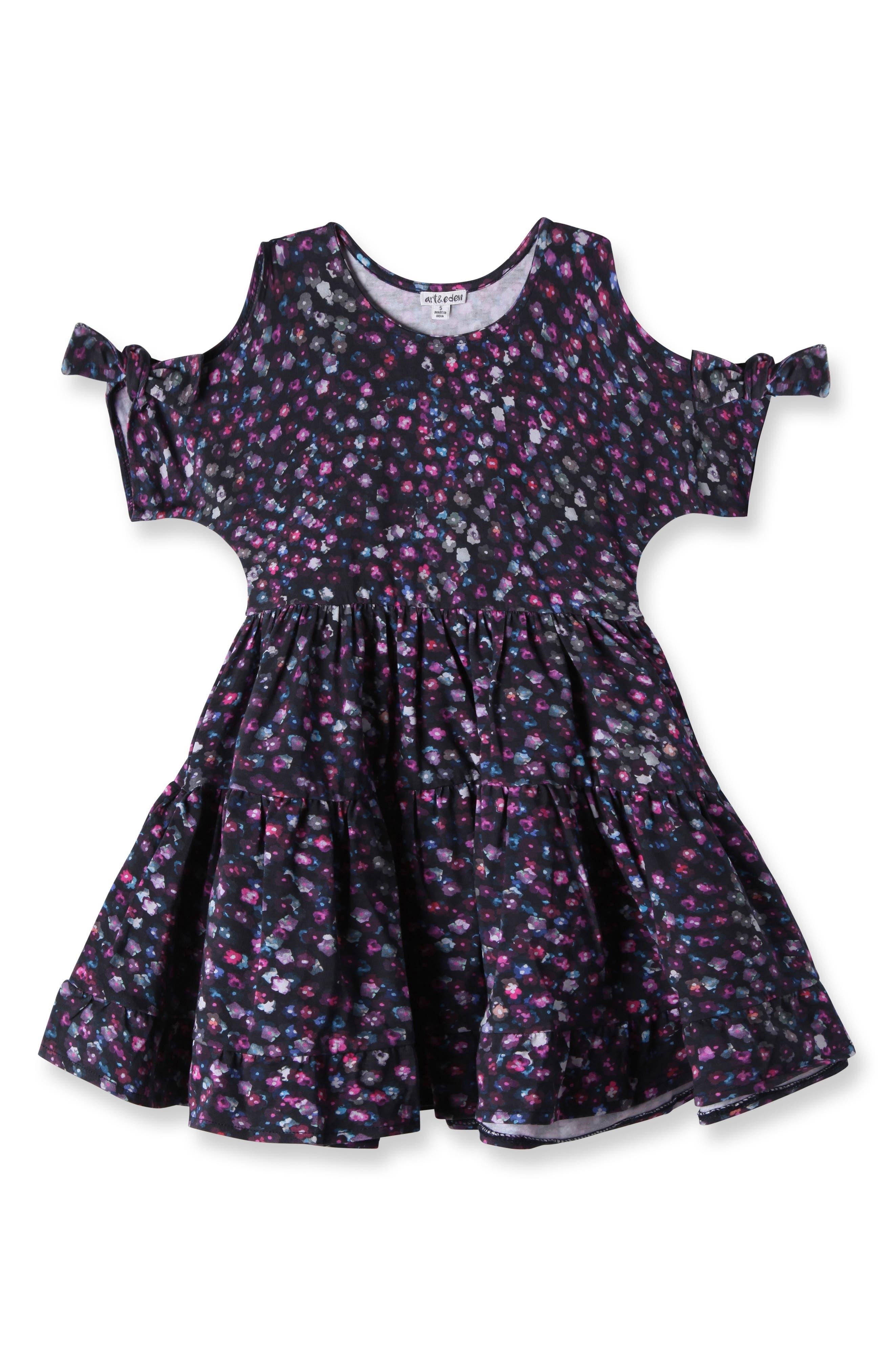 Main Image - Art & Eden Emma Cold Shoulder Dress (Toddler Girls & Little Girls)