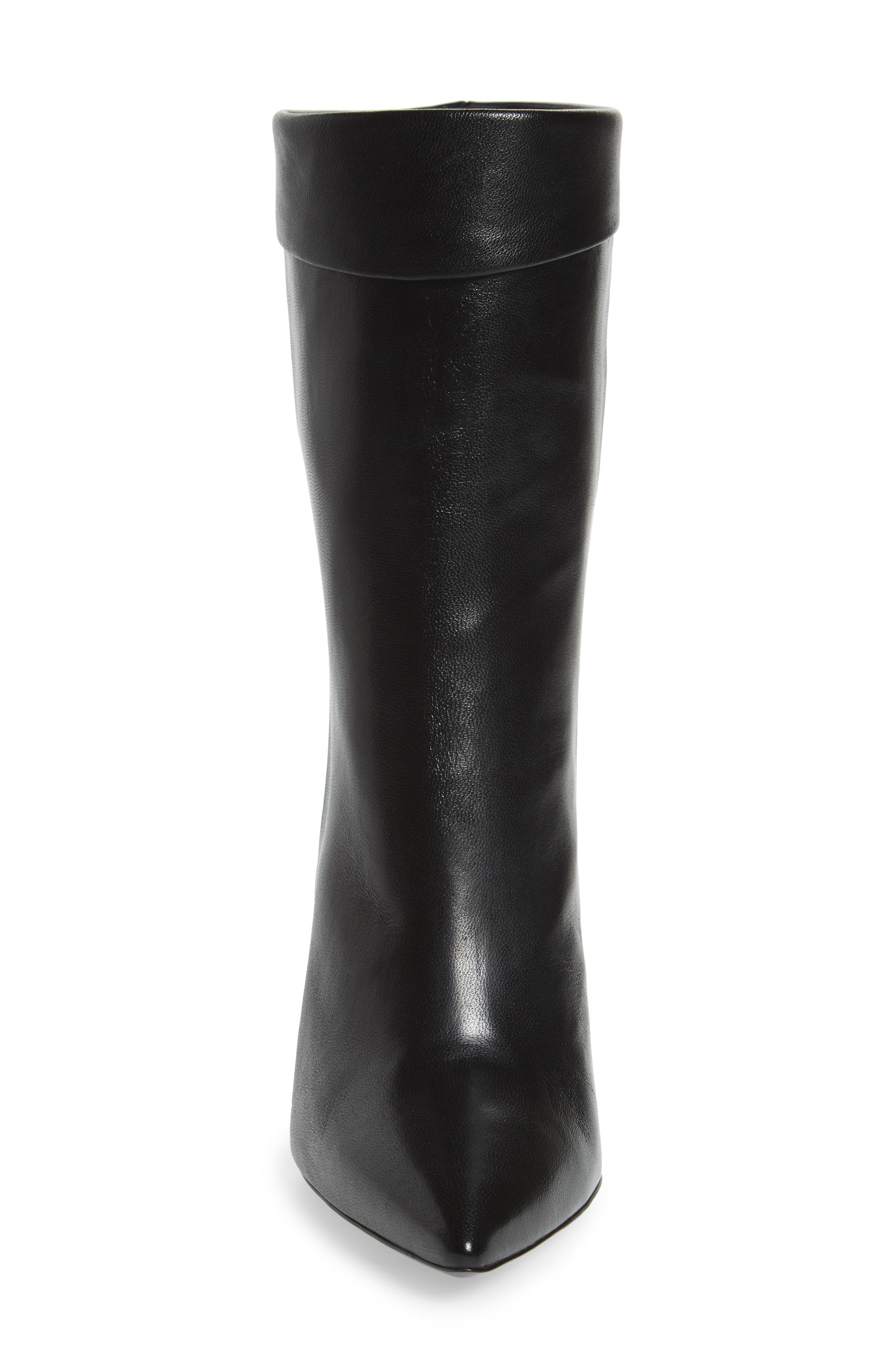 Sylvie Cuffed Pointy Toe Bootie,                             Alternate thumbnail 2, color,                             Black Leather