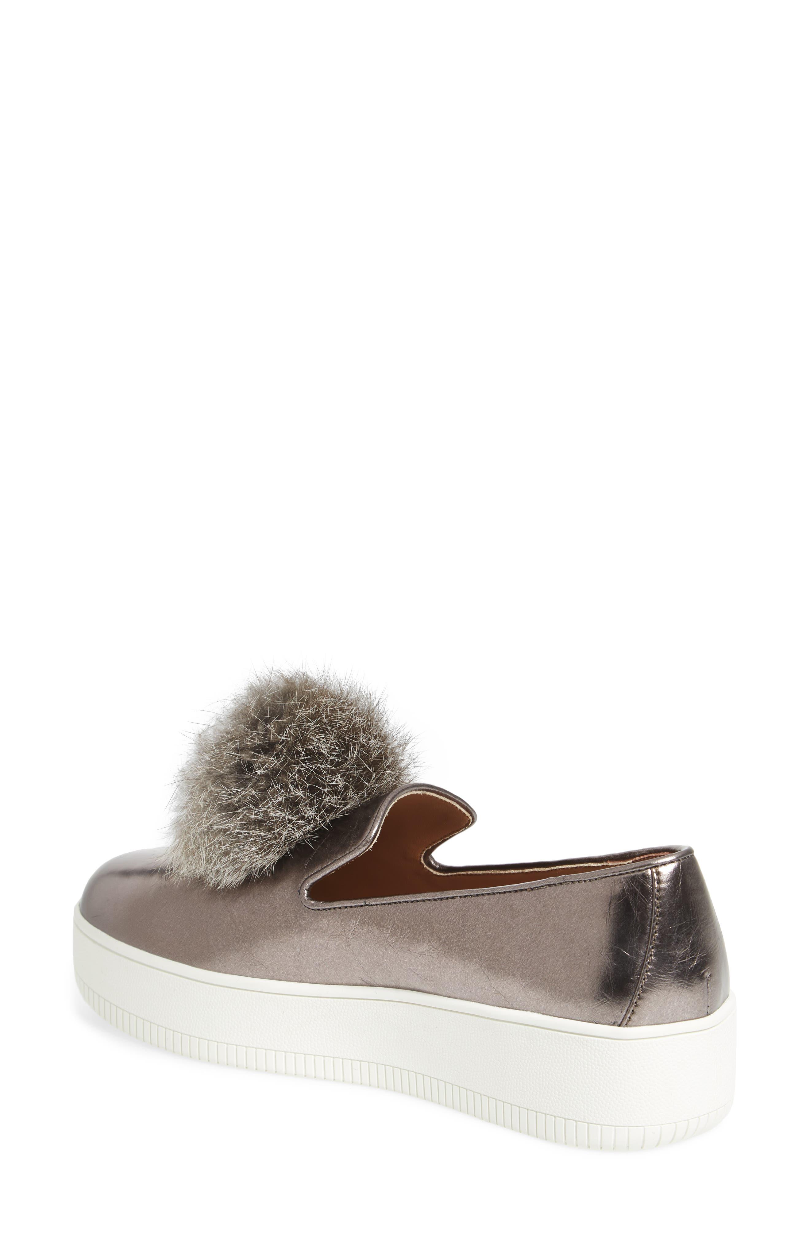 Alternate Image 2  - Linea Paolo Sammy Platform Sneaker with Genuine Rabbit Fur Pompom (Women)