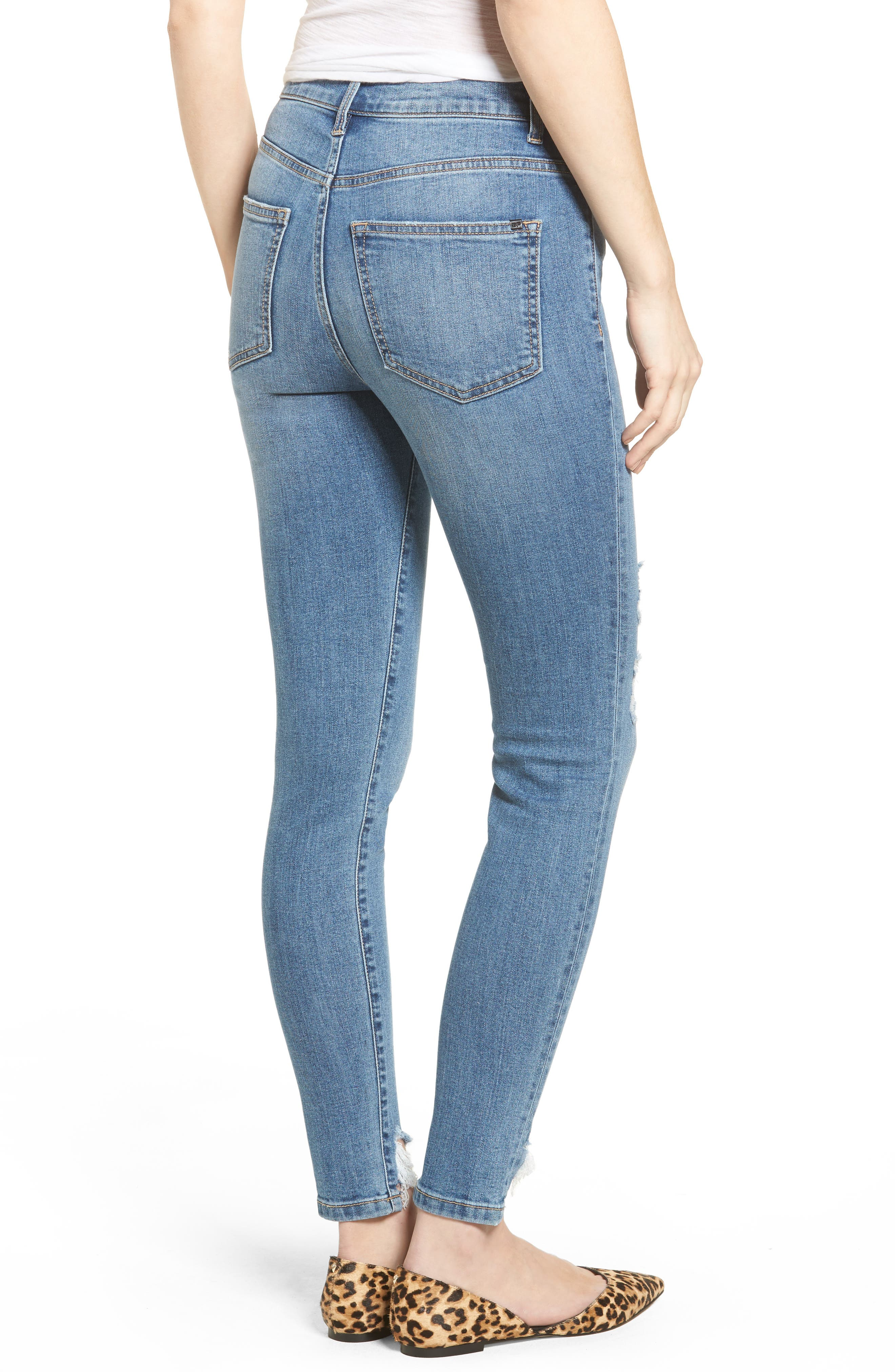 High Waist Raw Step Hem Jeans,                             Alternate thumbnail 2, color,                             Med Wash