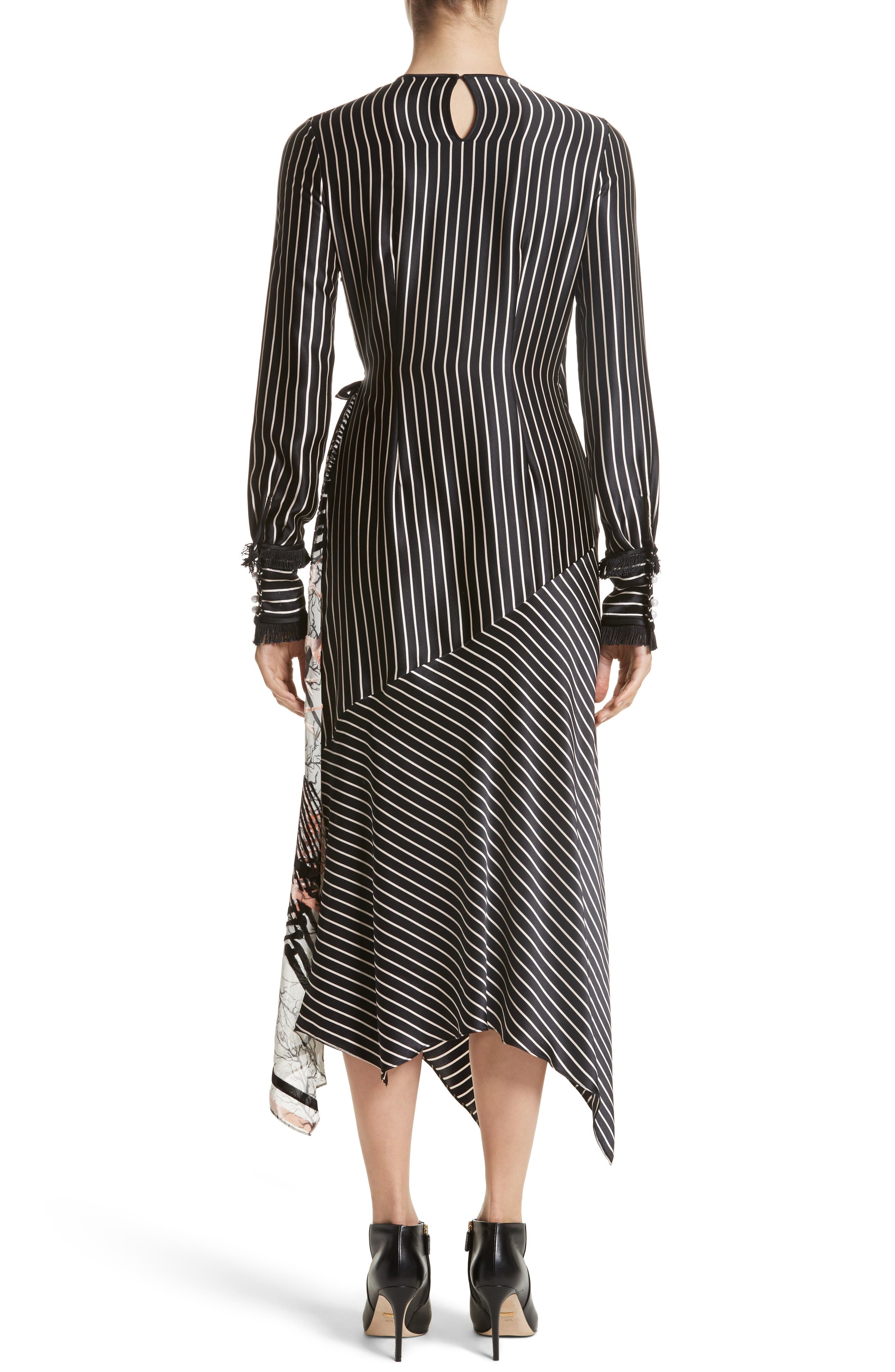 Alternate Image 2  - Yigal Azrouël Fringe Trim Asymmetrical Stripe Silk Dress
