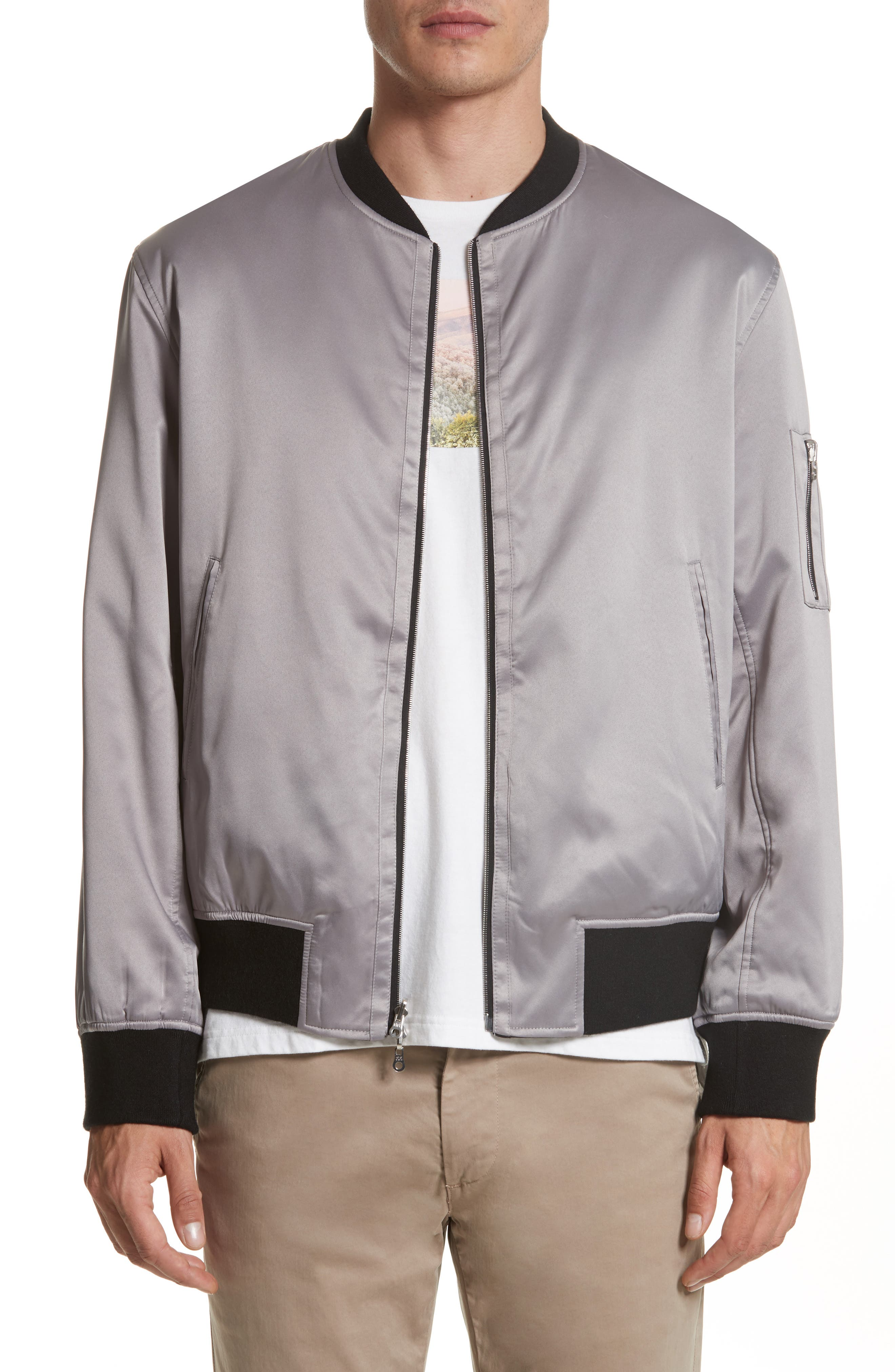 Reversible Zip Front Bomber Jacket,                         Main,                         color, Black/ Silver