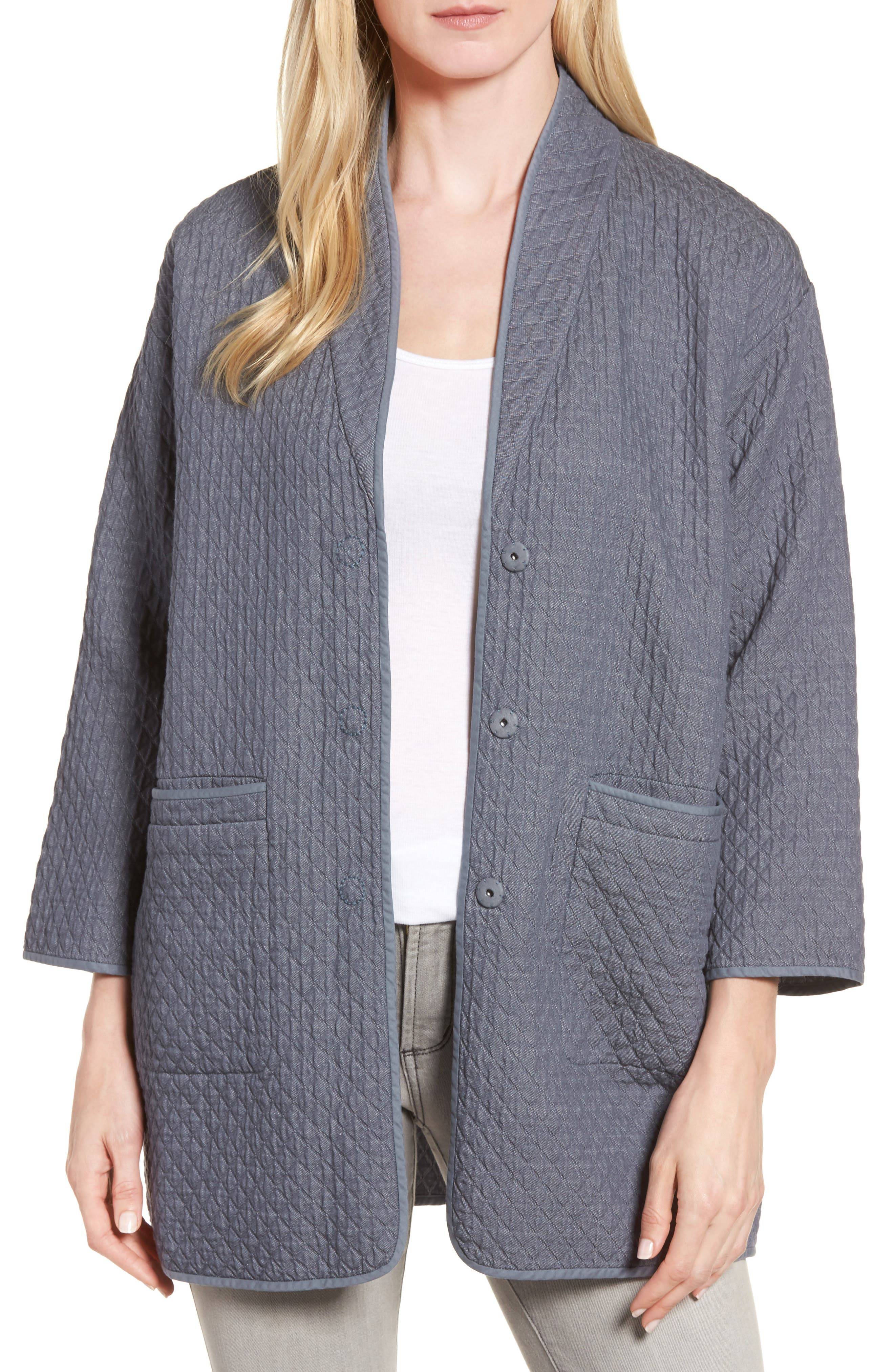 Eileen Fisher Long Cotton Jacquard Jacket