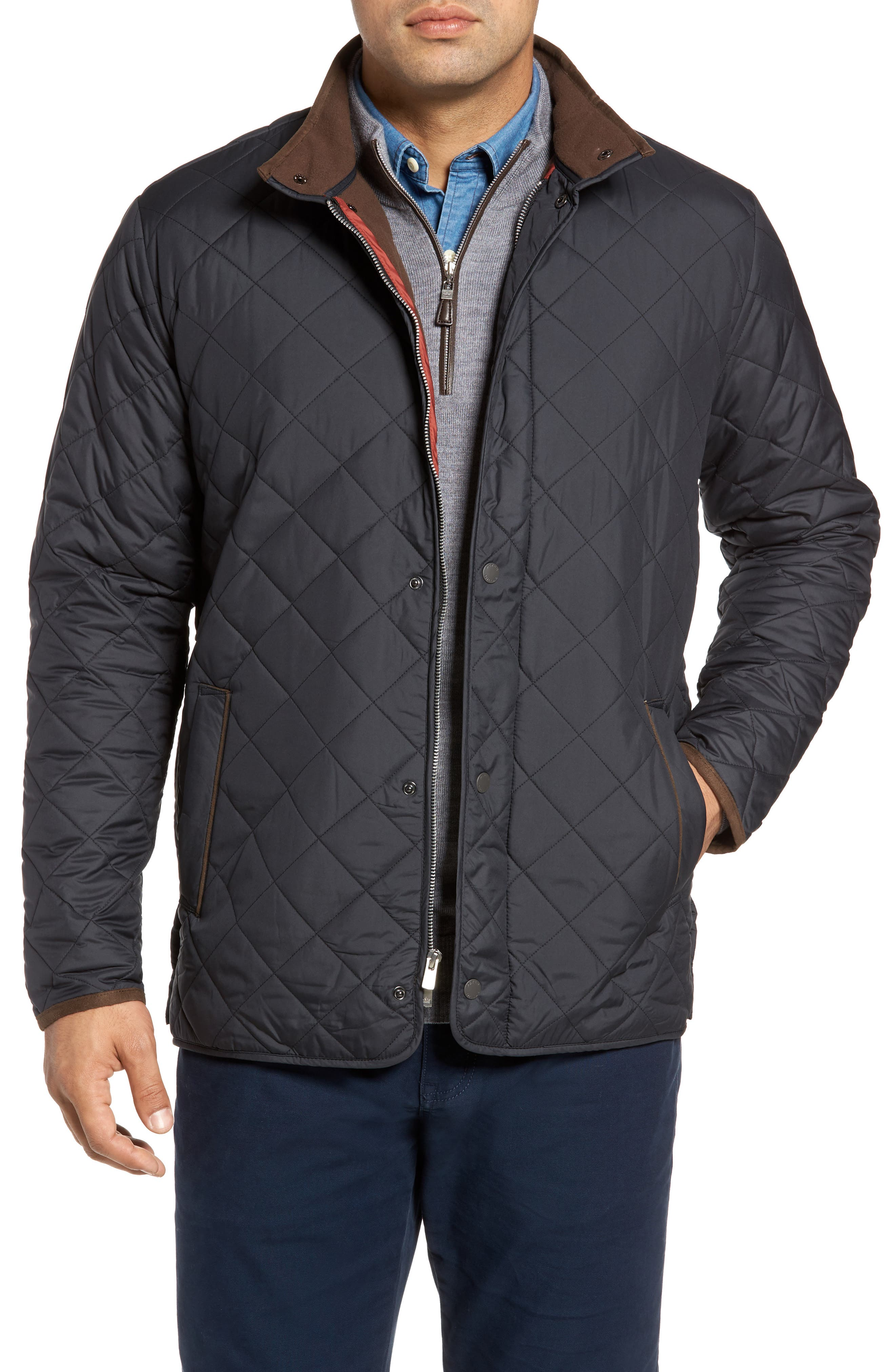Suffolk Quilted Water-Resistant Car Coat,                         Main,                         color, Black