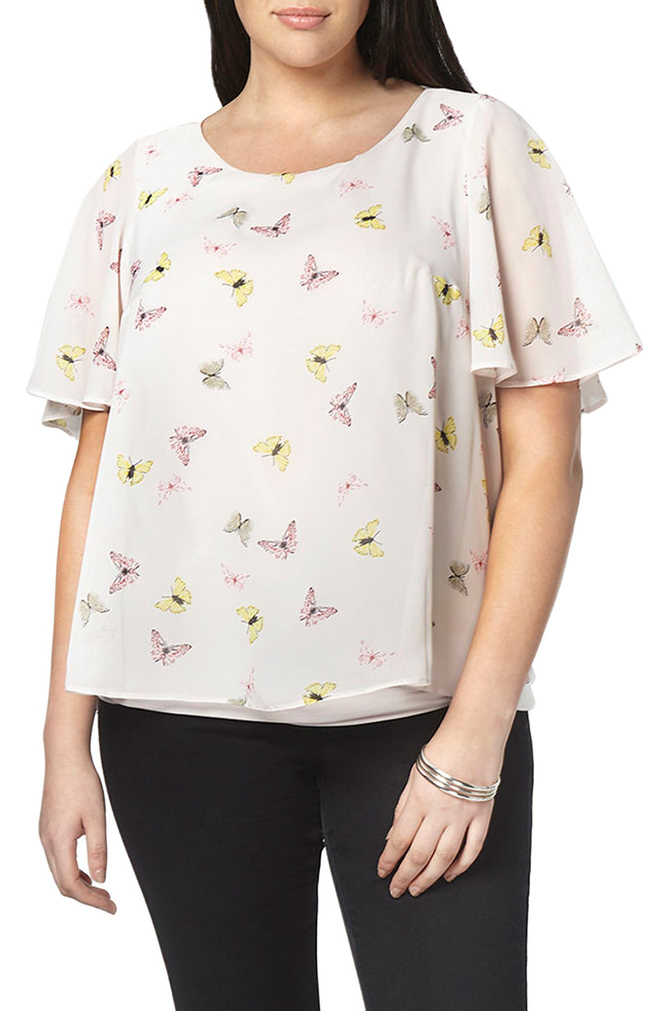 Alternate Image 3  - Evans Butterfly Print Overlay Top (Plus Size)