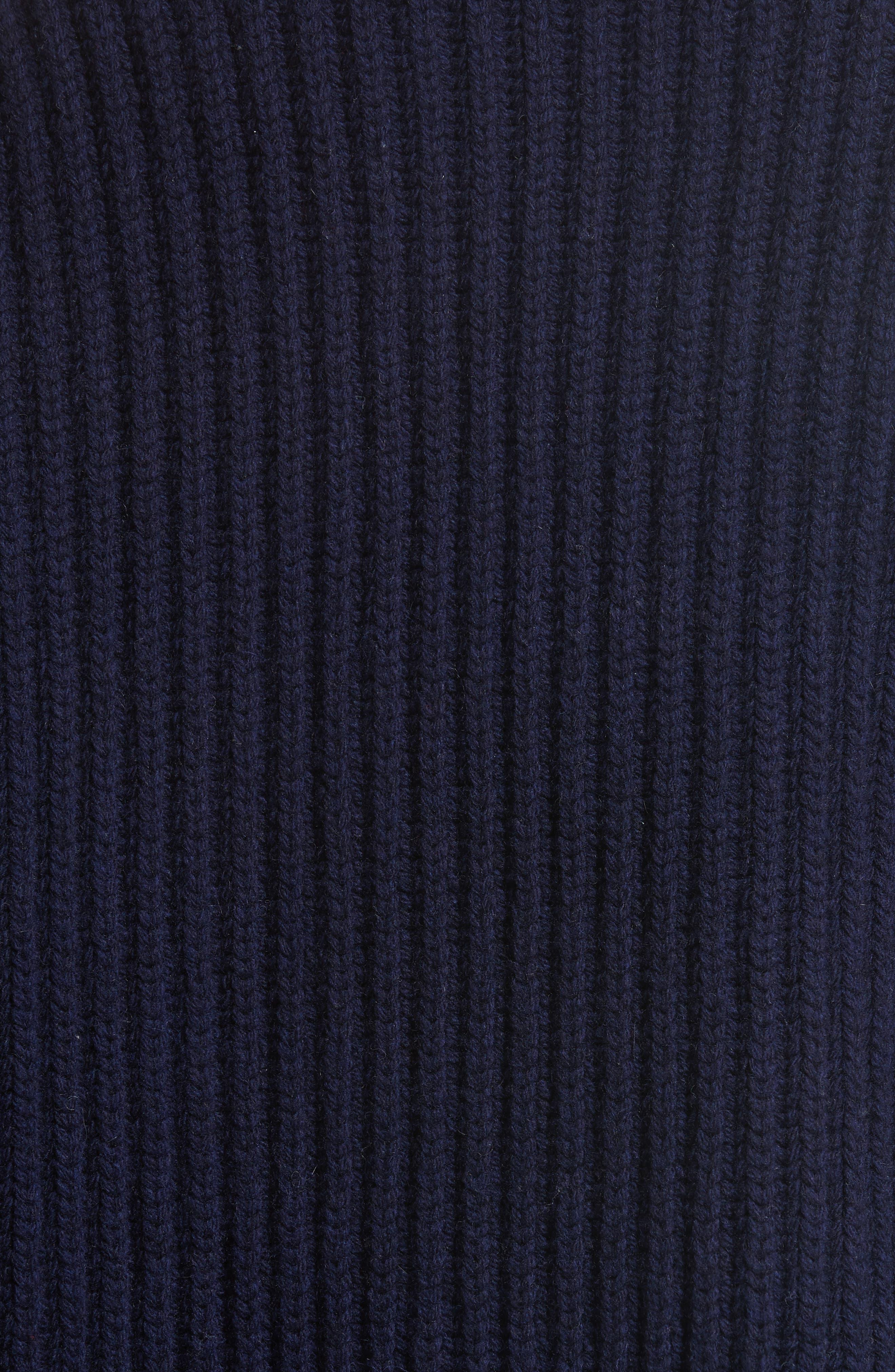 Crop Wool Sweater,                             Alternate thumbnail 3, color,                             Navy