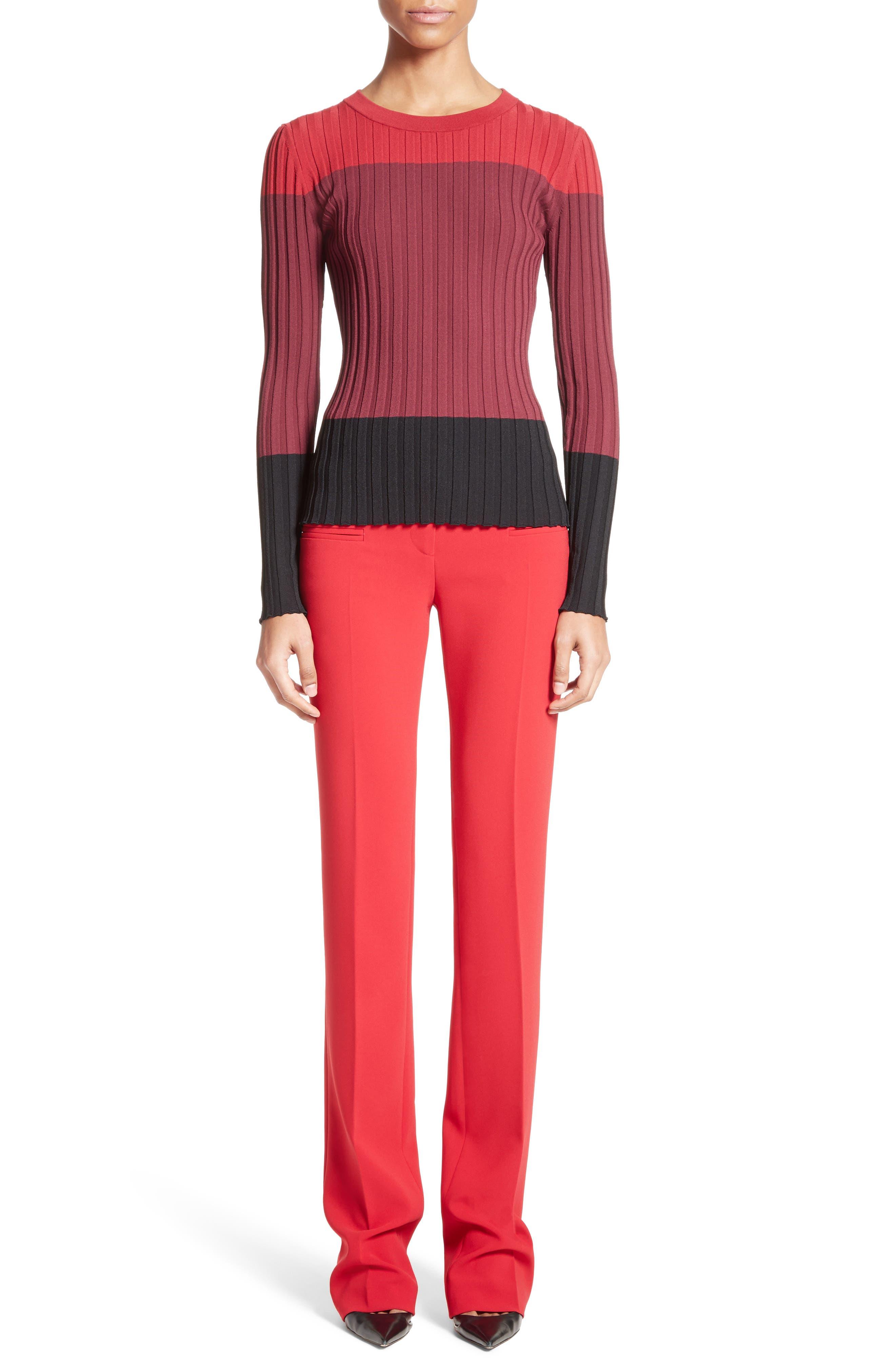 Leila Colorblock Knit Sweater,                             Alternate thumbnail 7, color,                             Port Multi