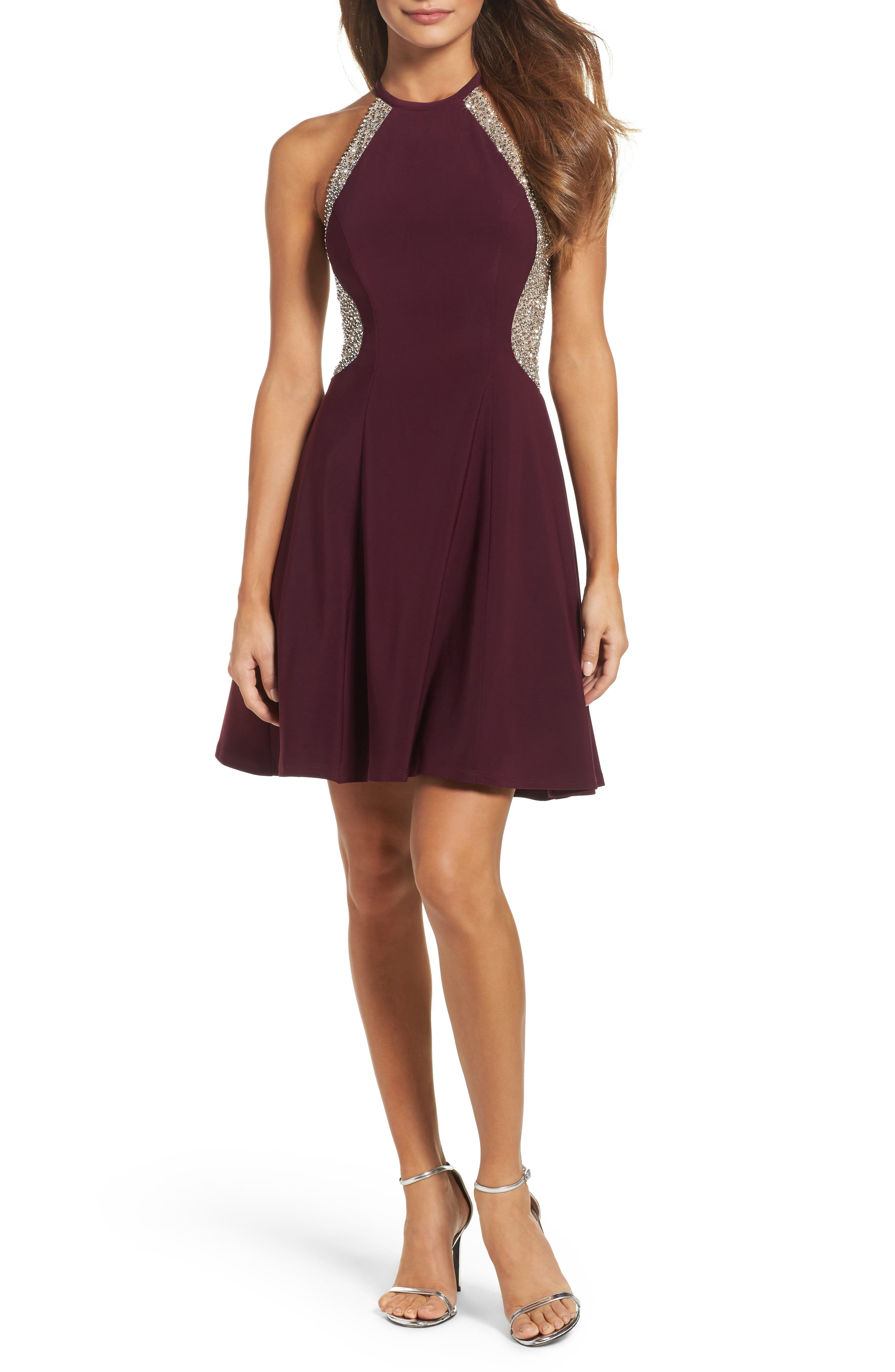Beaded Jersey Party Dress,                         Main,                         color, Wine/ Nude/ Silver