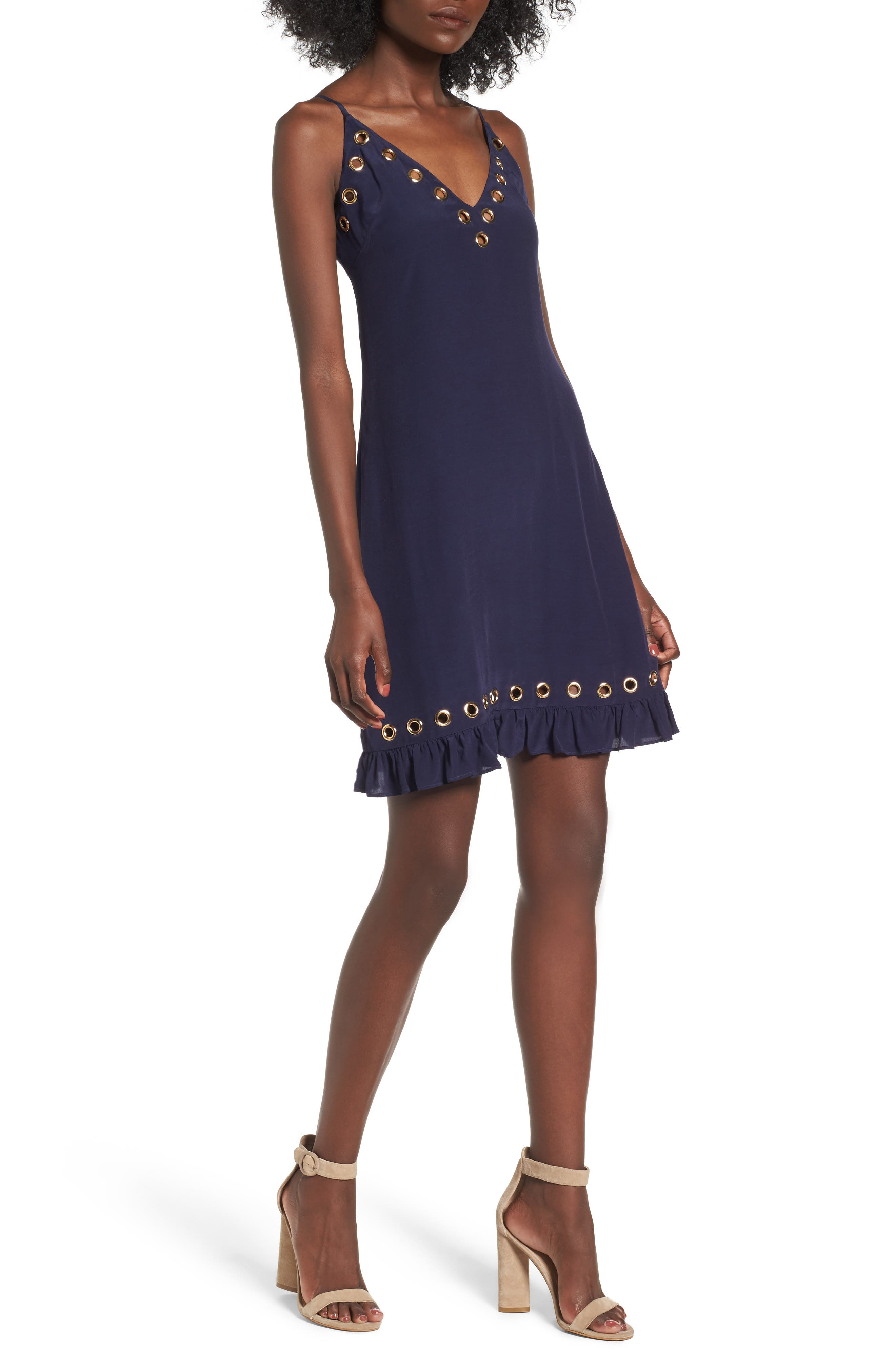 Grommet Slipdress,                             Main thumbnail 1, color,                             Navy