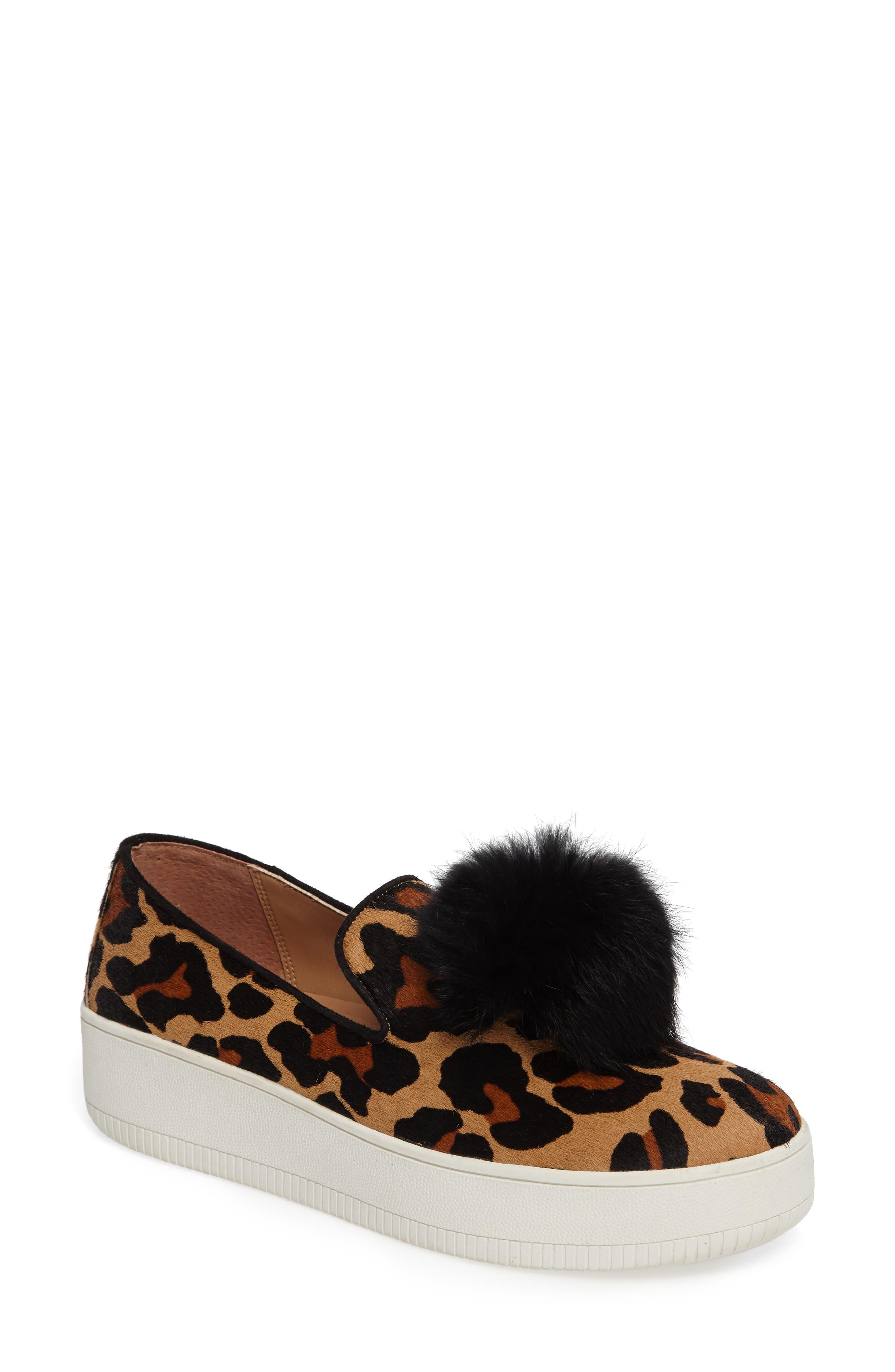 Linea Paolo Sammy II Genuine Calf Hair Platform Sneaker with Genuine Rabbit Fur Trim (Women)