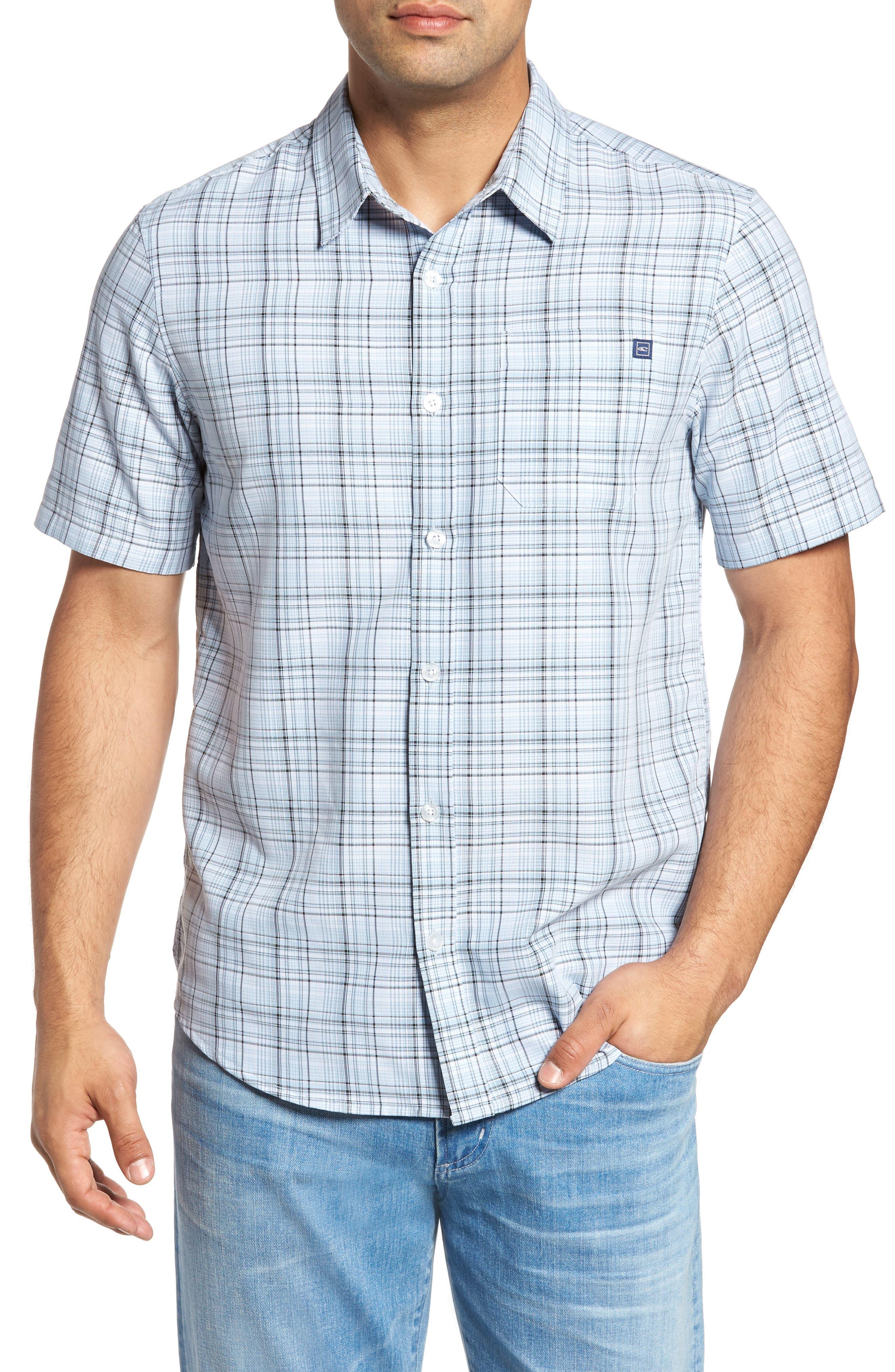 Shores Plaid Sport Shirt,                         Main,                         color, Bright Blue