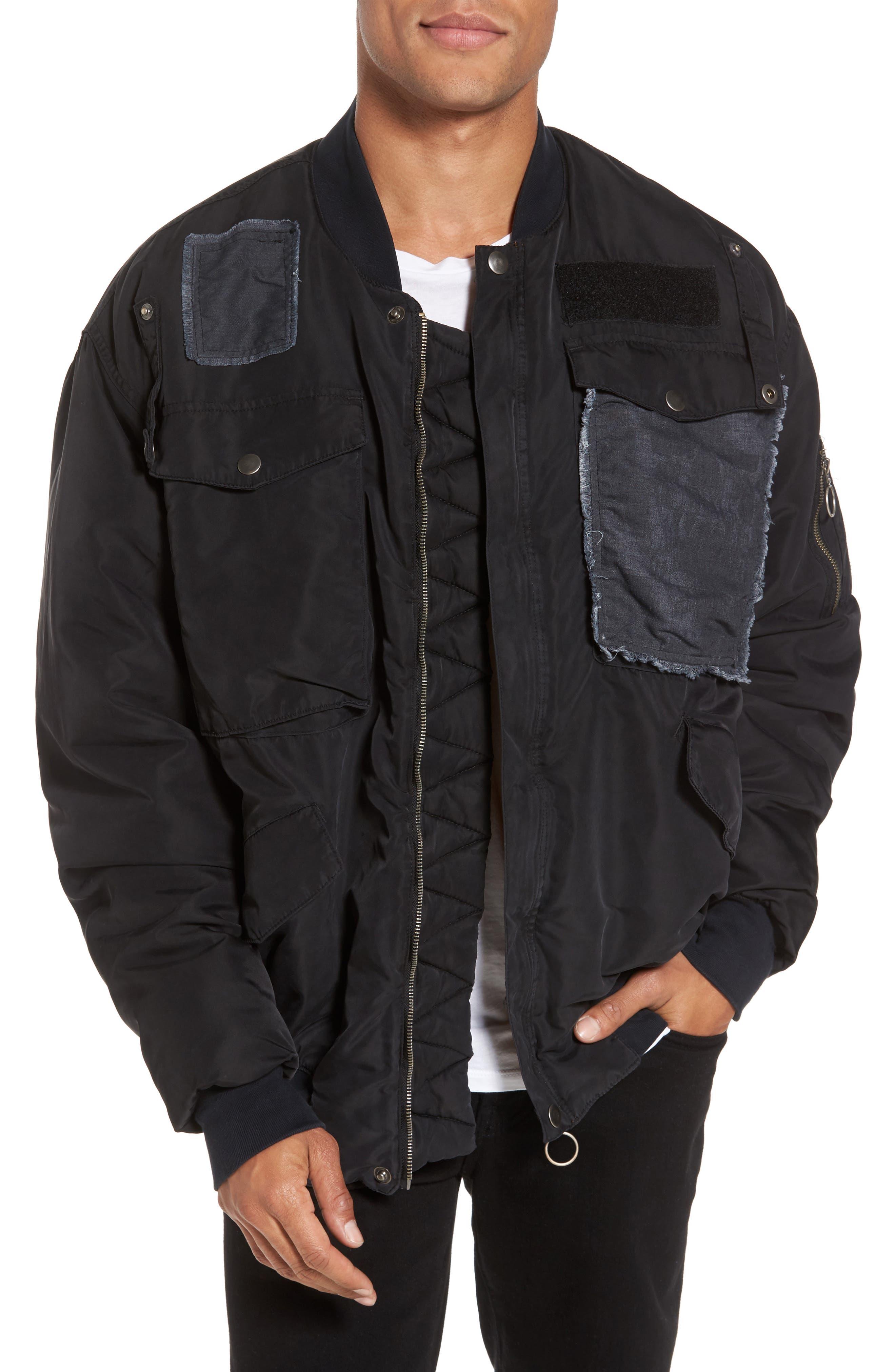 Echo Oversize Bomber Jacket,                         Main,                         color, Fade To Black