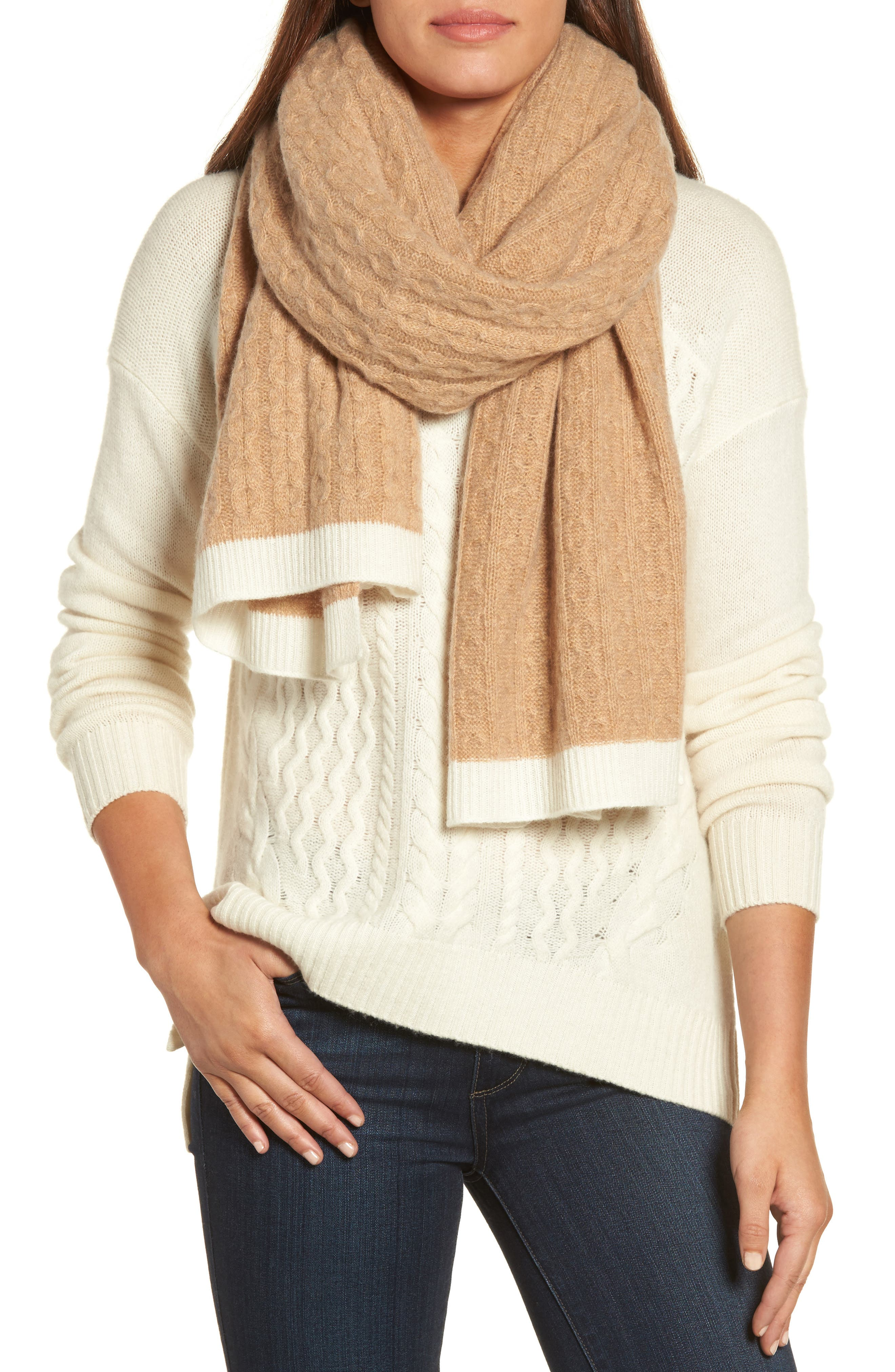 Halogen® Cable Knit Cashmere Scarf