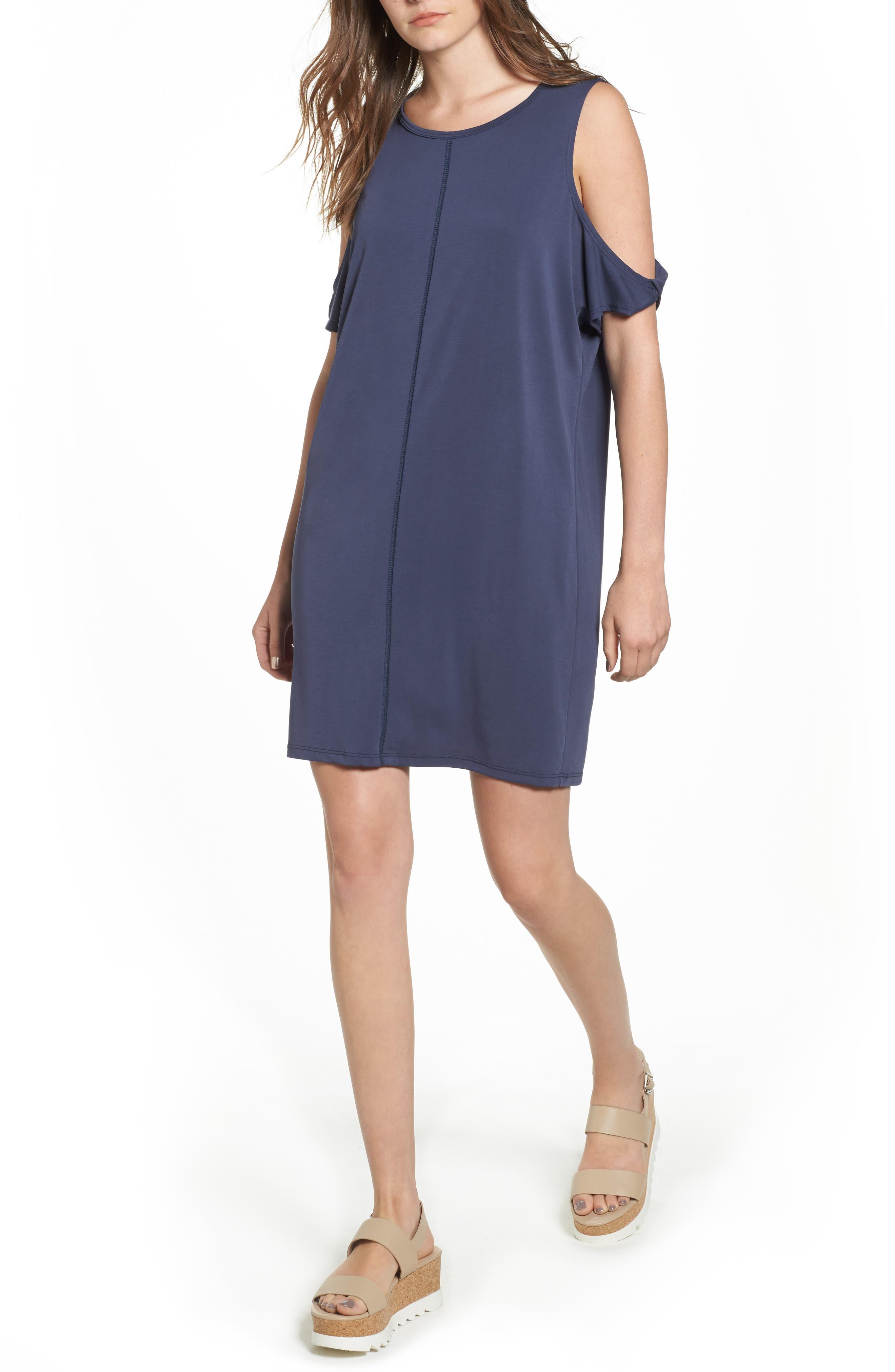 Twisted Cold Shoulder Dress,                             Main thumbnail 1, color,                             Denim Navy