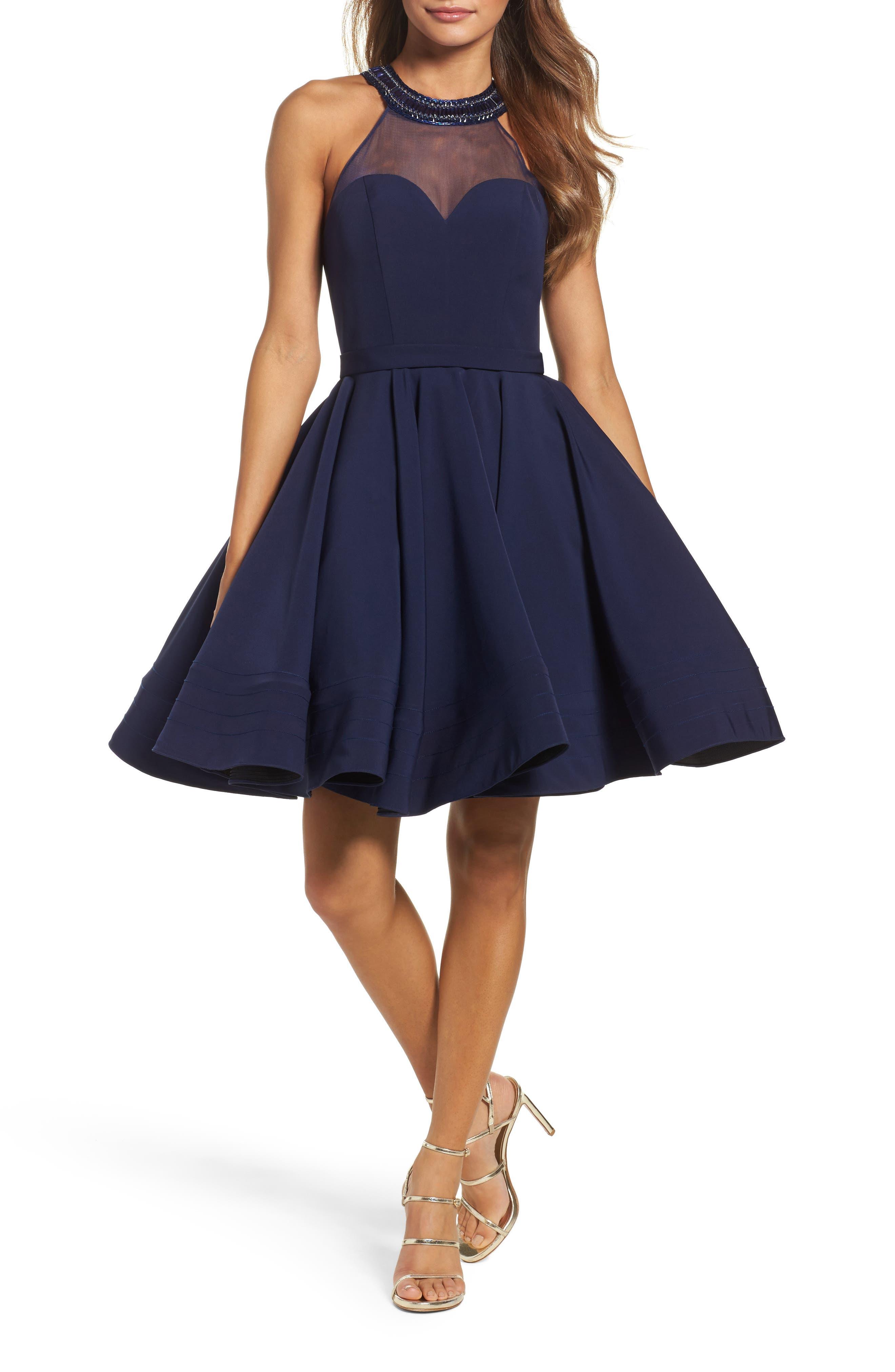 Beaded Illusion Neck Skater Dress,                         Main,                         color, Midnight